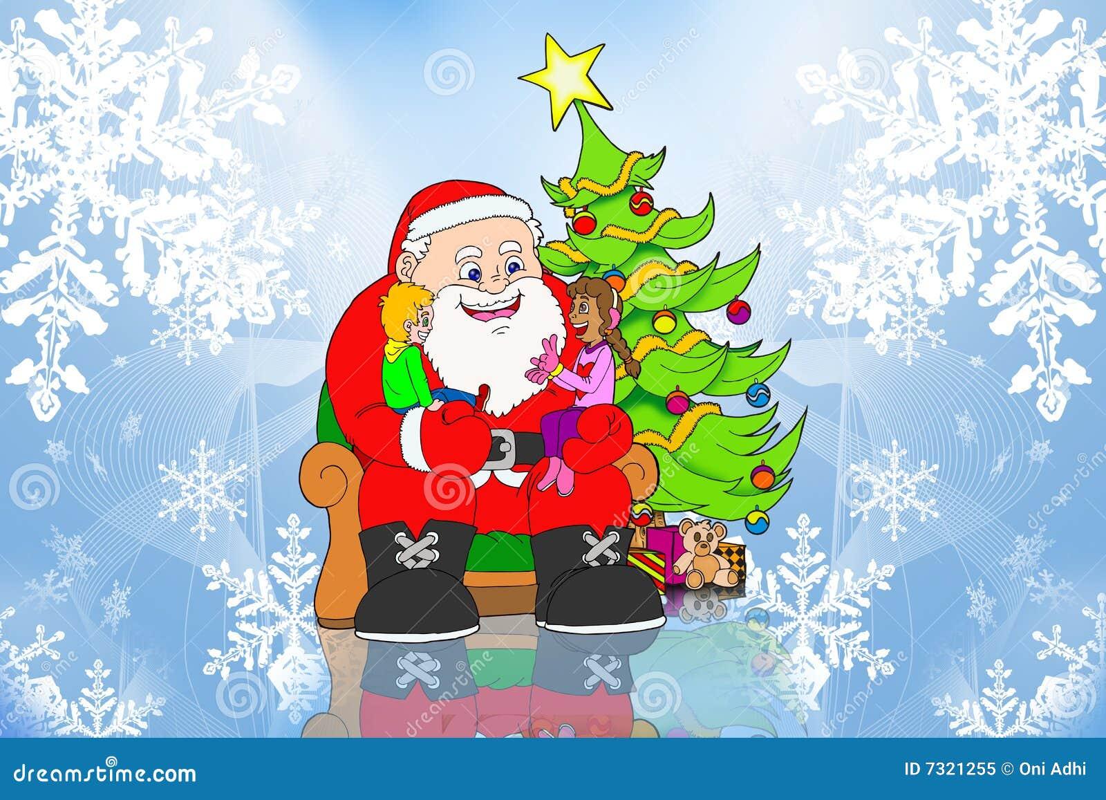 Il Babbo Natale e bambini sulla priorità bassa del ghiaccio