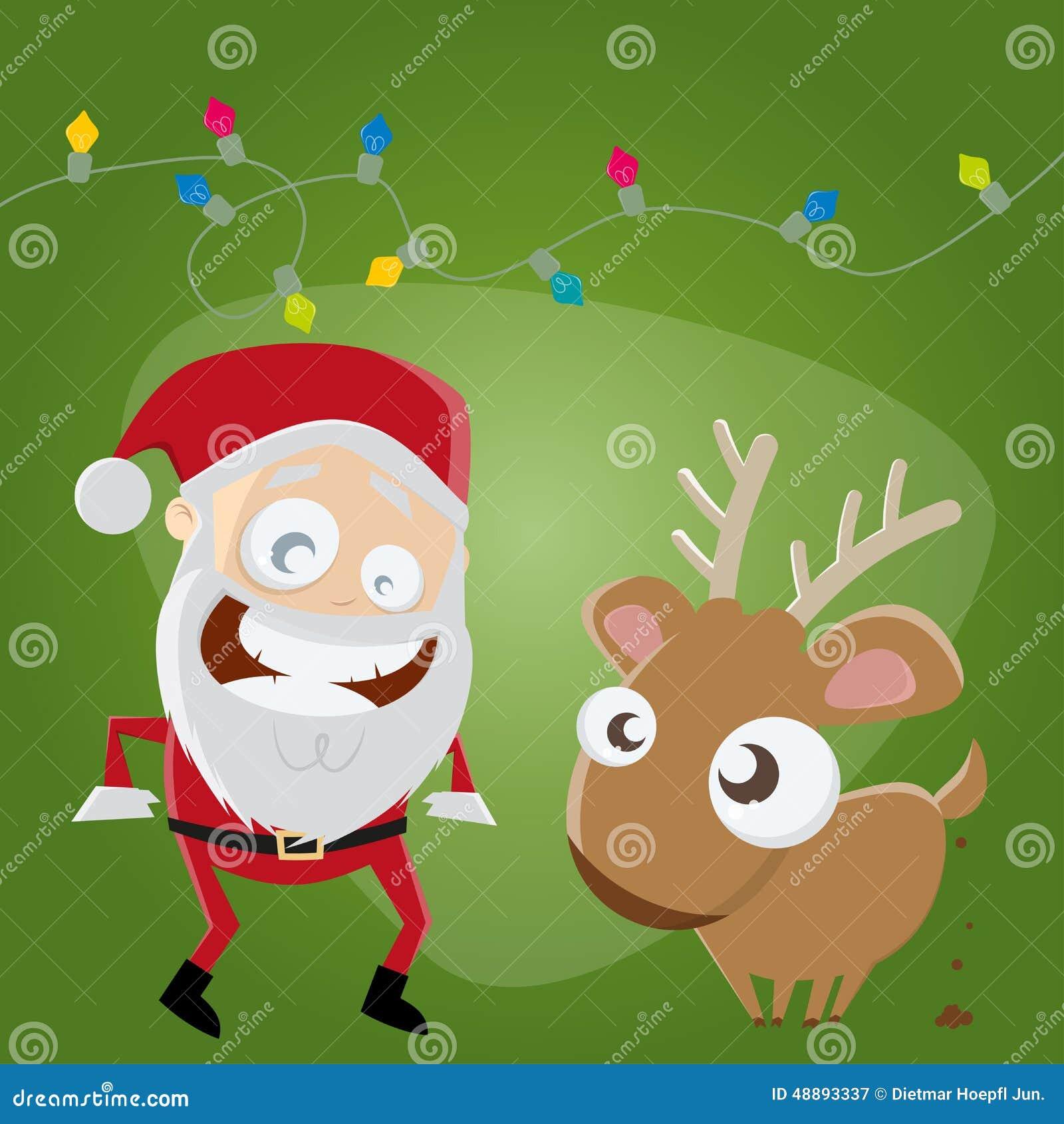 Babbo Natale Immagini Divertenti.Il Babbo Natale E Renna Divertenti Illustrazione Vettoriale