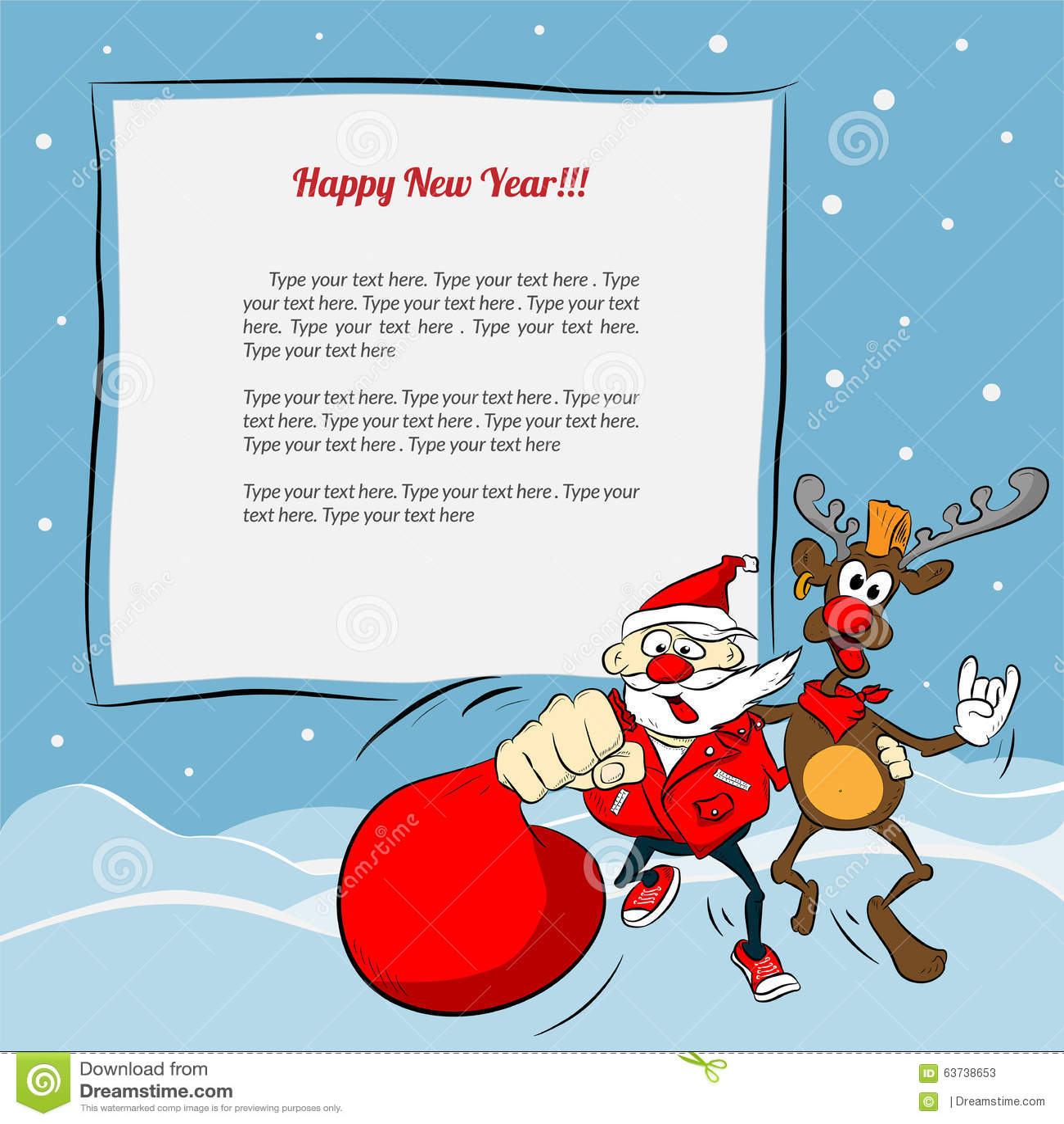 Popolare Il Babbo Natale E Renna Divertenti Illustrazione Vettoriale  PY29