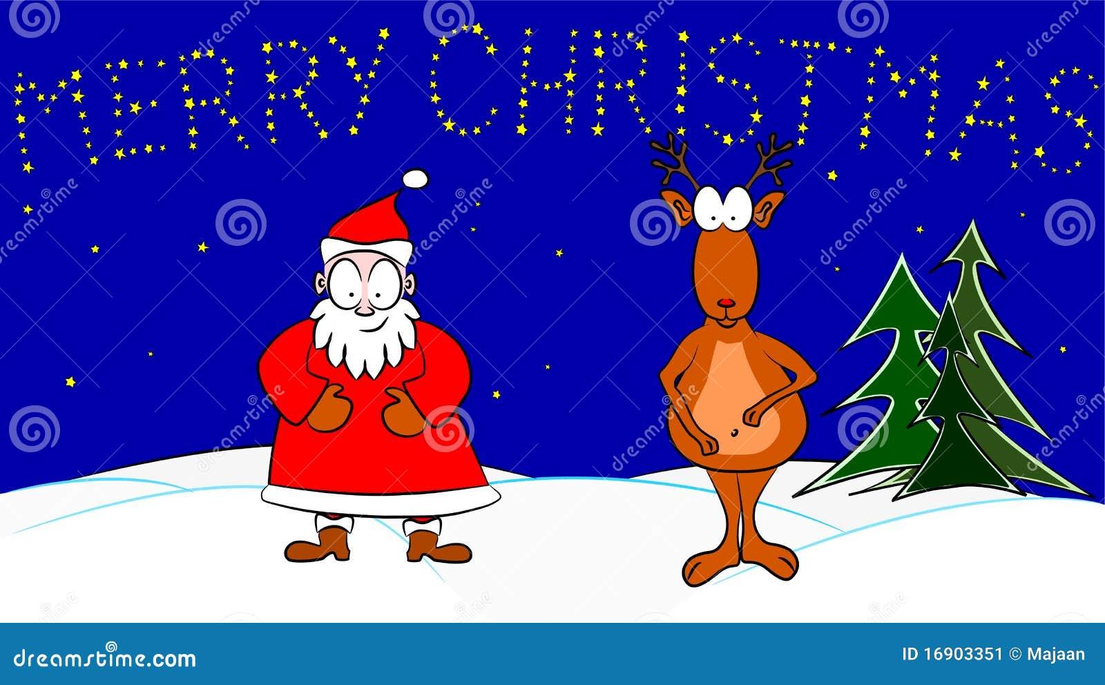 Rudolph La Renna Di Babbo Natale.Il Babbo Natale E Rudolph La Renna Col Naso Rosso Illustrazione