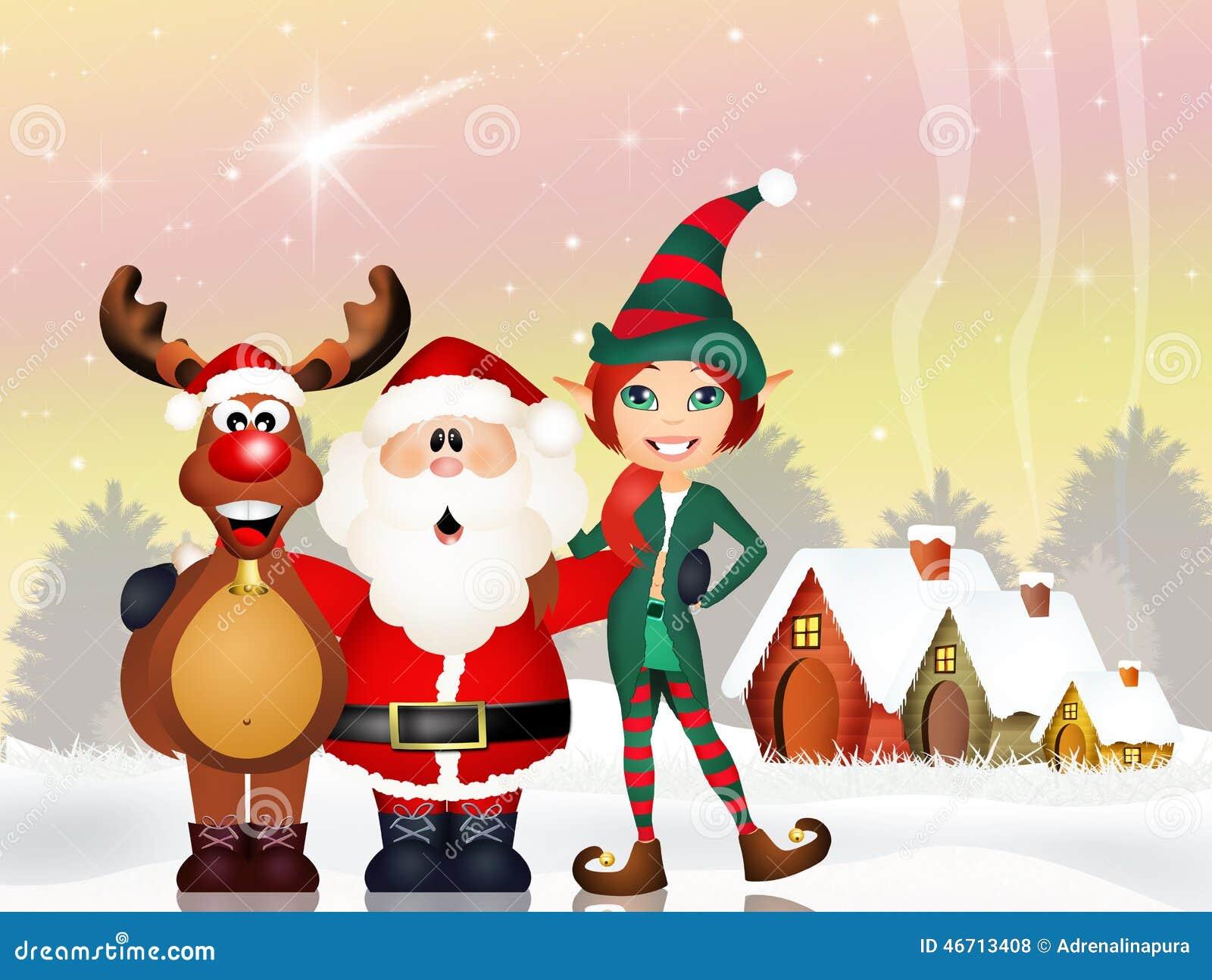 Babbo Natale E Gli Elfi.Il Babbo Natale Renna Ed Elfo Illustrazione Di Stock