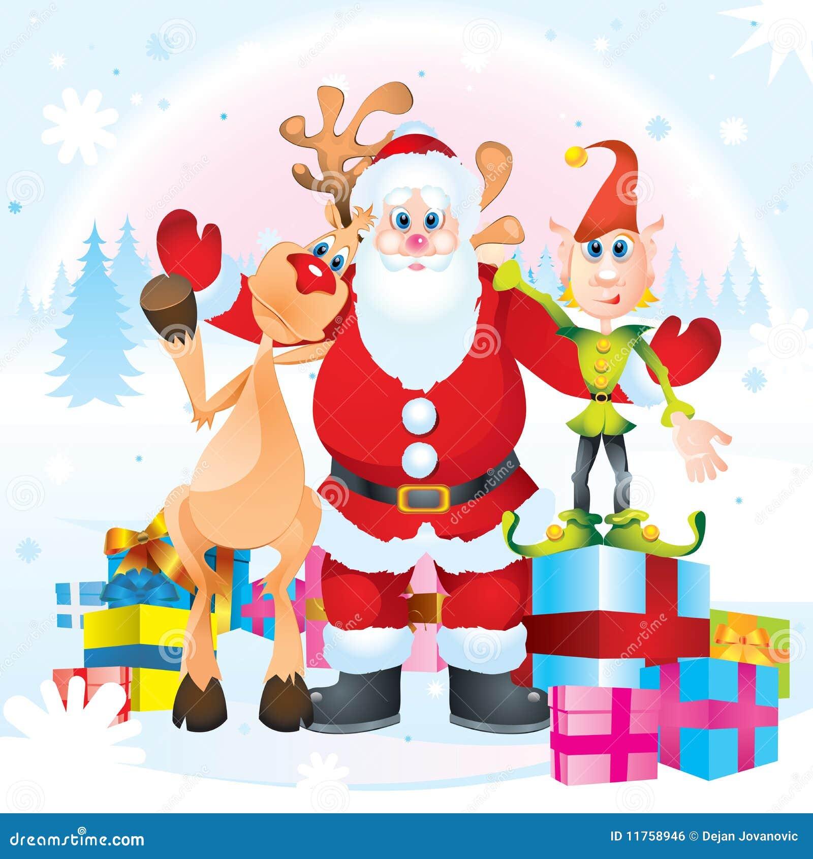 Babbo Natale E Gli Elfi.Il Babbo Natale Rudolph Ed Elfo Illustrazione Vettoriale