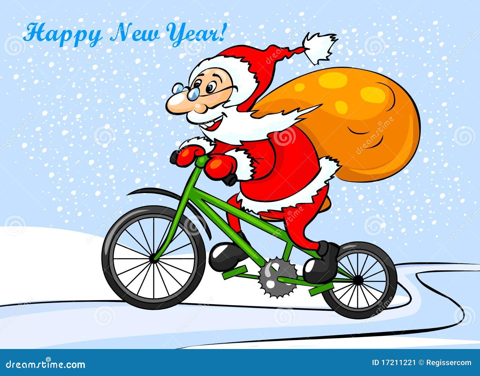 Babbo Natale In Bicicletta.Il Babbo Natale Sta Guidando Su Una Bici Illustrazione Di Stock