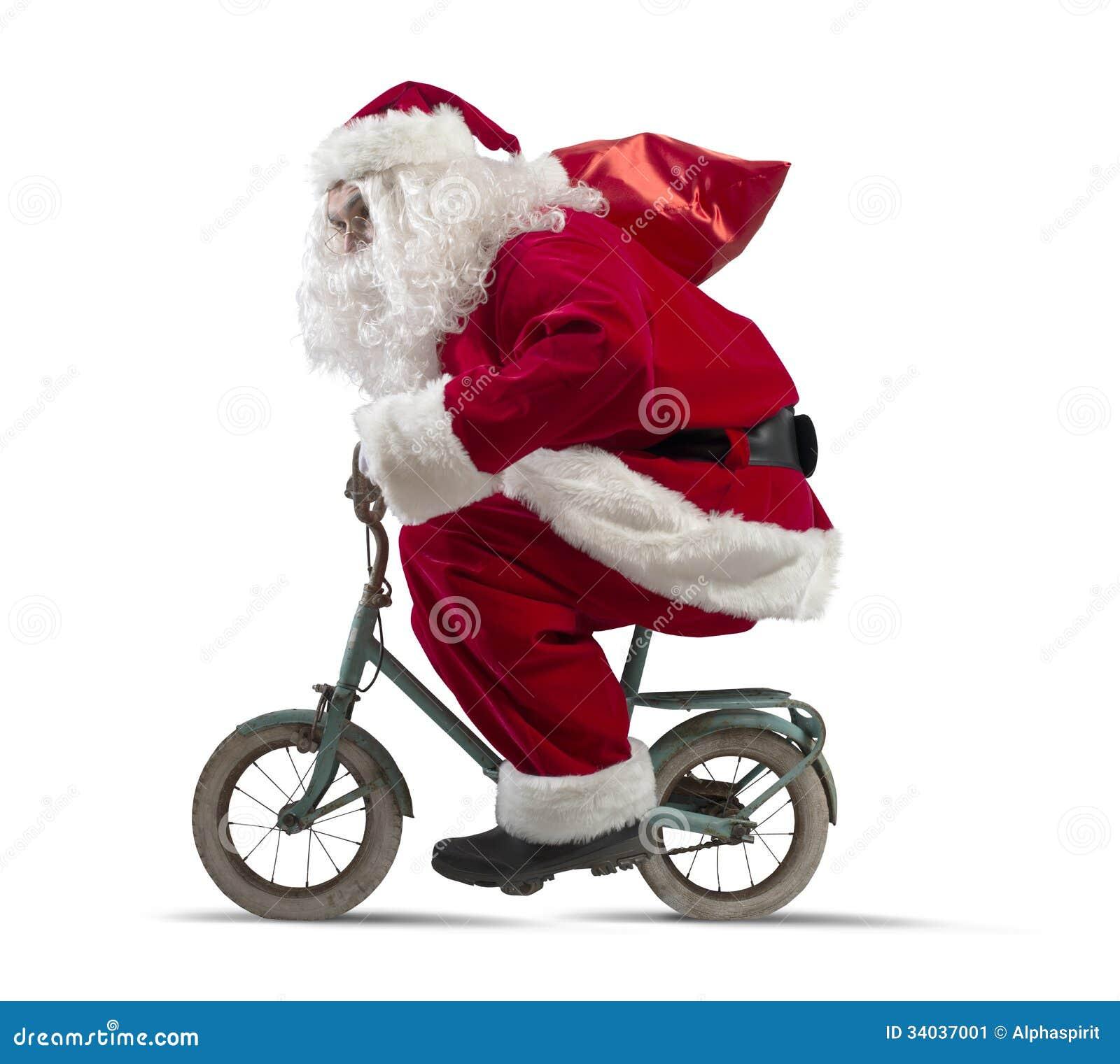 Babbo Natale In Bicicletta.Il Babbo Natale Sulla Bici Immagine Stock Immagine Di Sogno 34037001