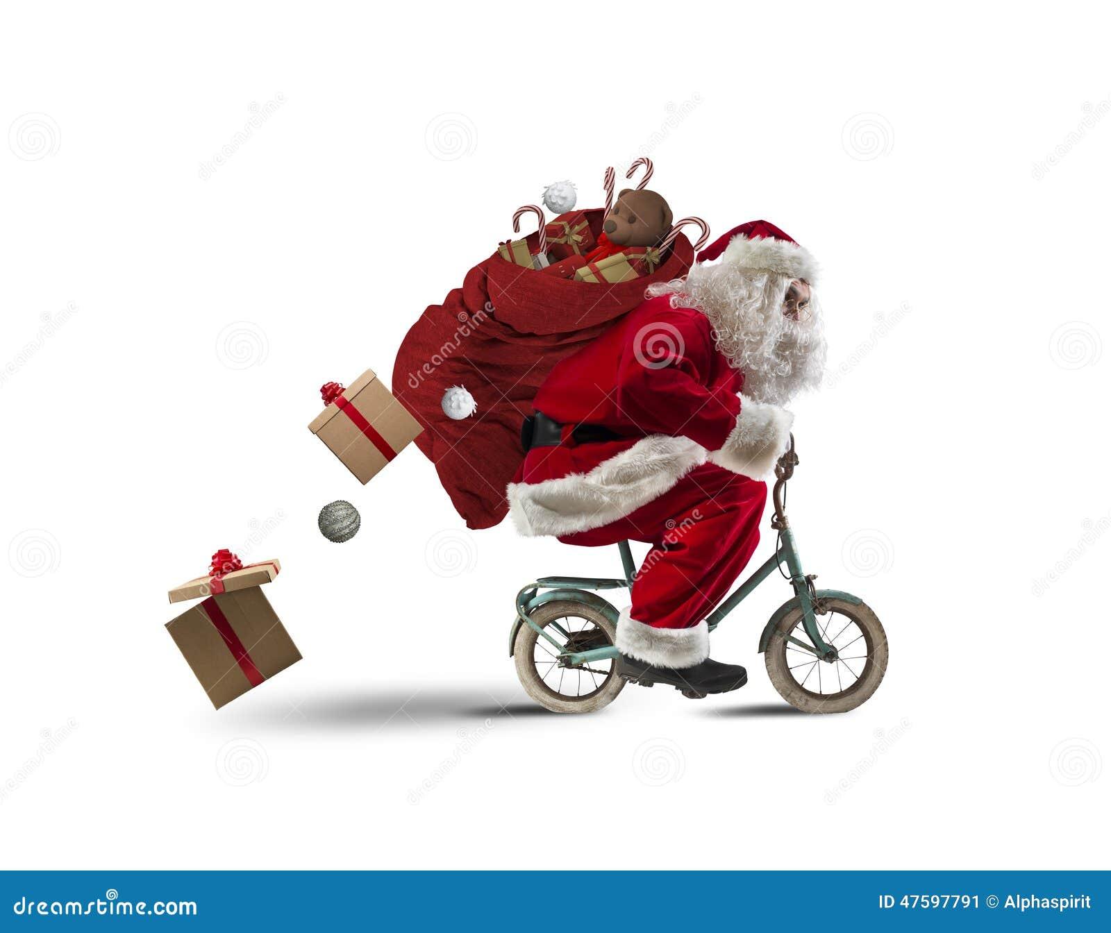 Babbo Natale In Bicicletta.Il Babbo Natale Sulla Bicicletta Immagine Stock Immagine Di Grasso
