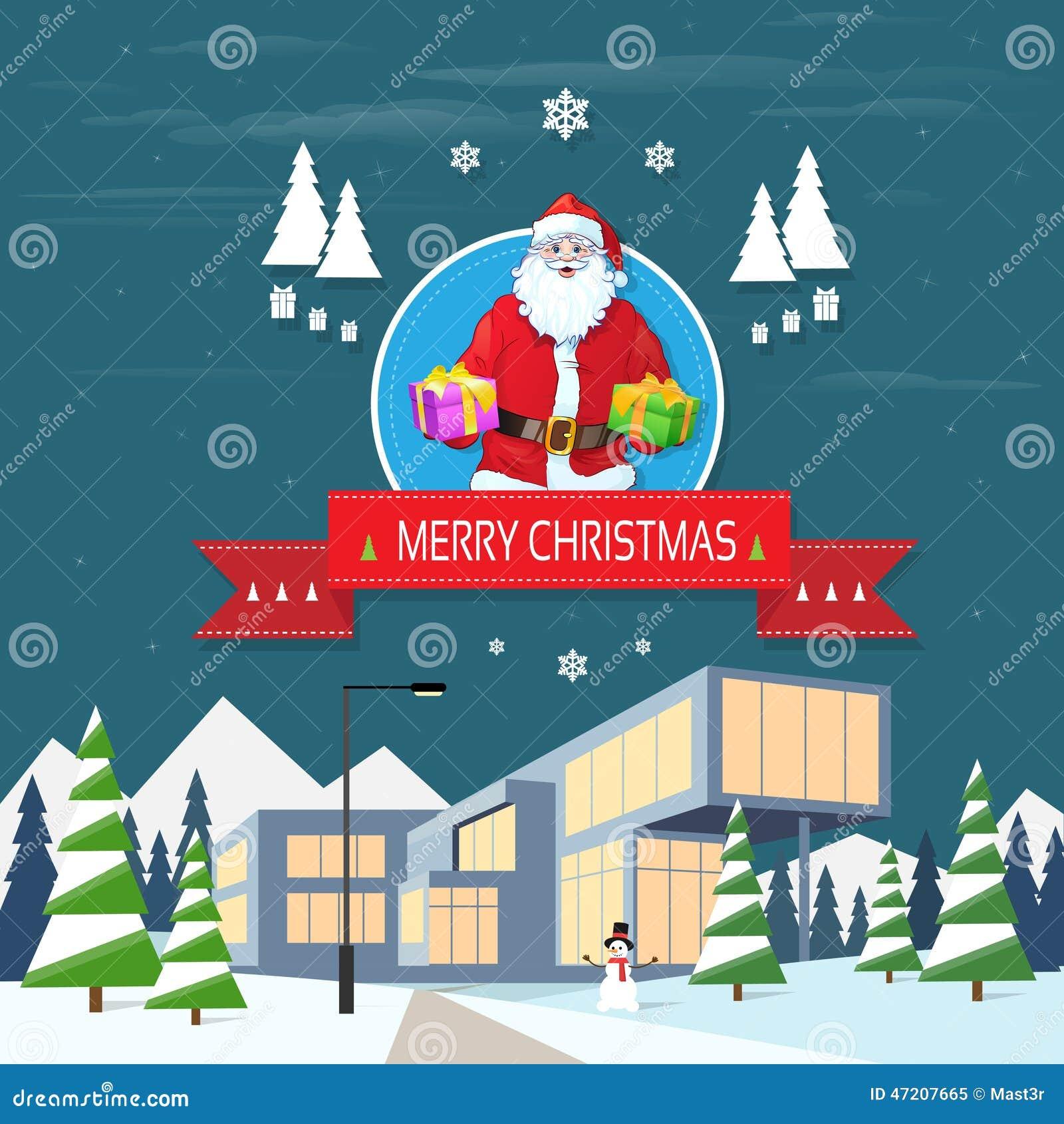 Auguri Di Buon Natale Alla Famiglia.Il Babbo Natale Sulla Tenuta Della Cartolina D Auguri Di Natale
