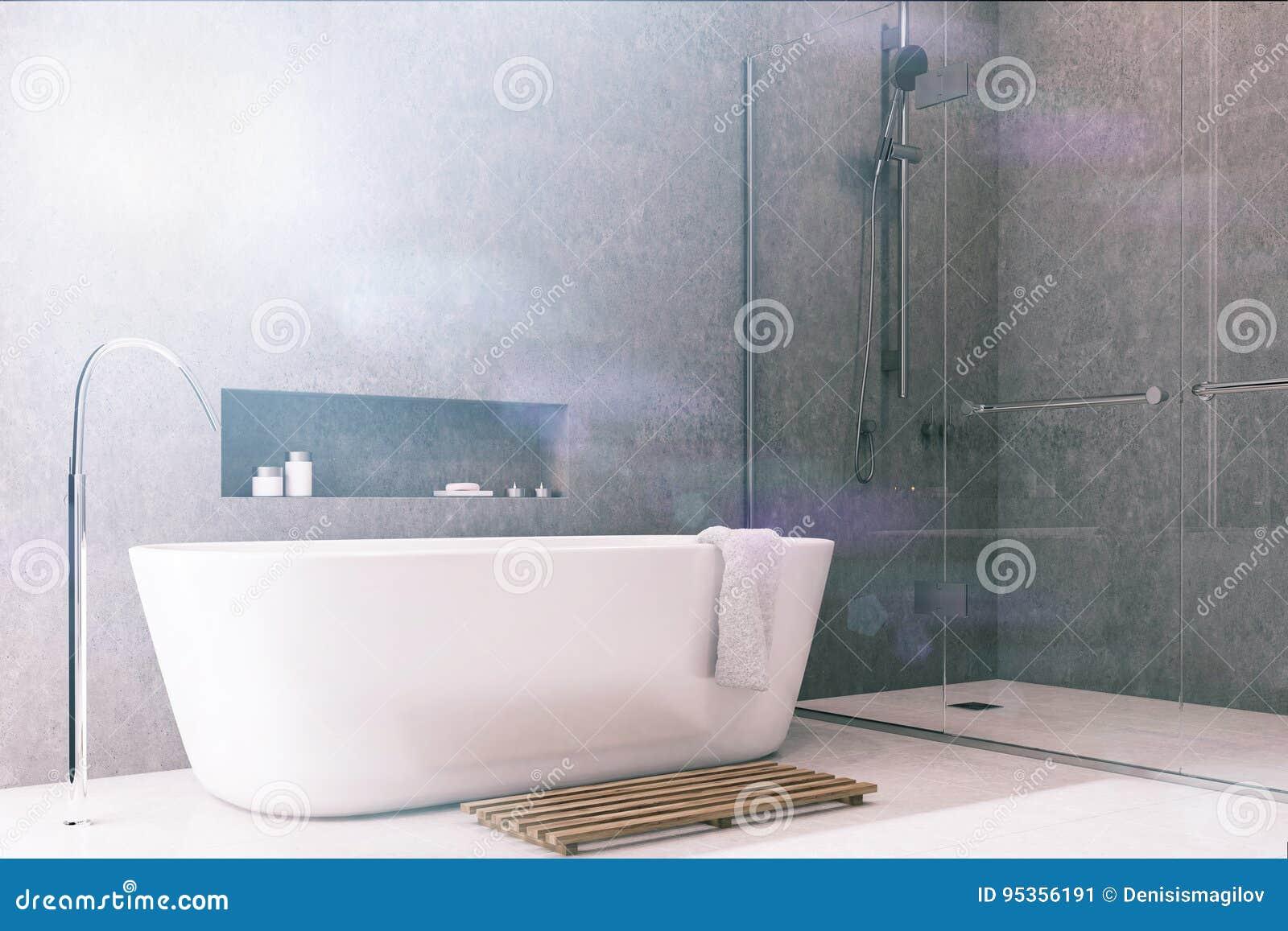 Pavimento Bianco Grigio : Il bagno grigio pavimento bianco accantona tonificato