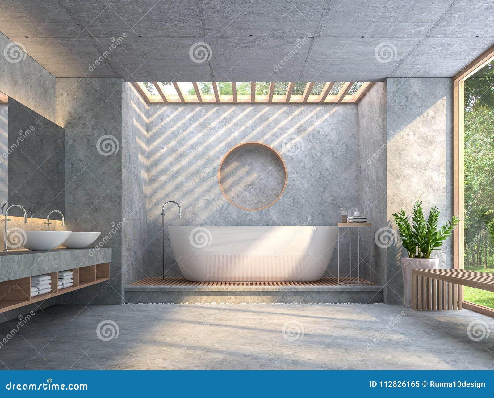 Il bagno moderno di stile del sottotetto con calcestruzzo lucidato