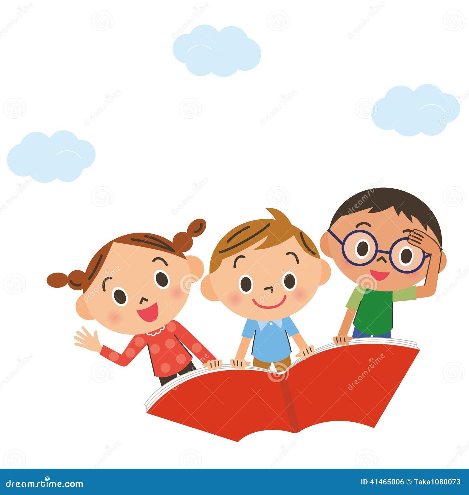 il bambino che vola nel cielo su un libro illustrazione di