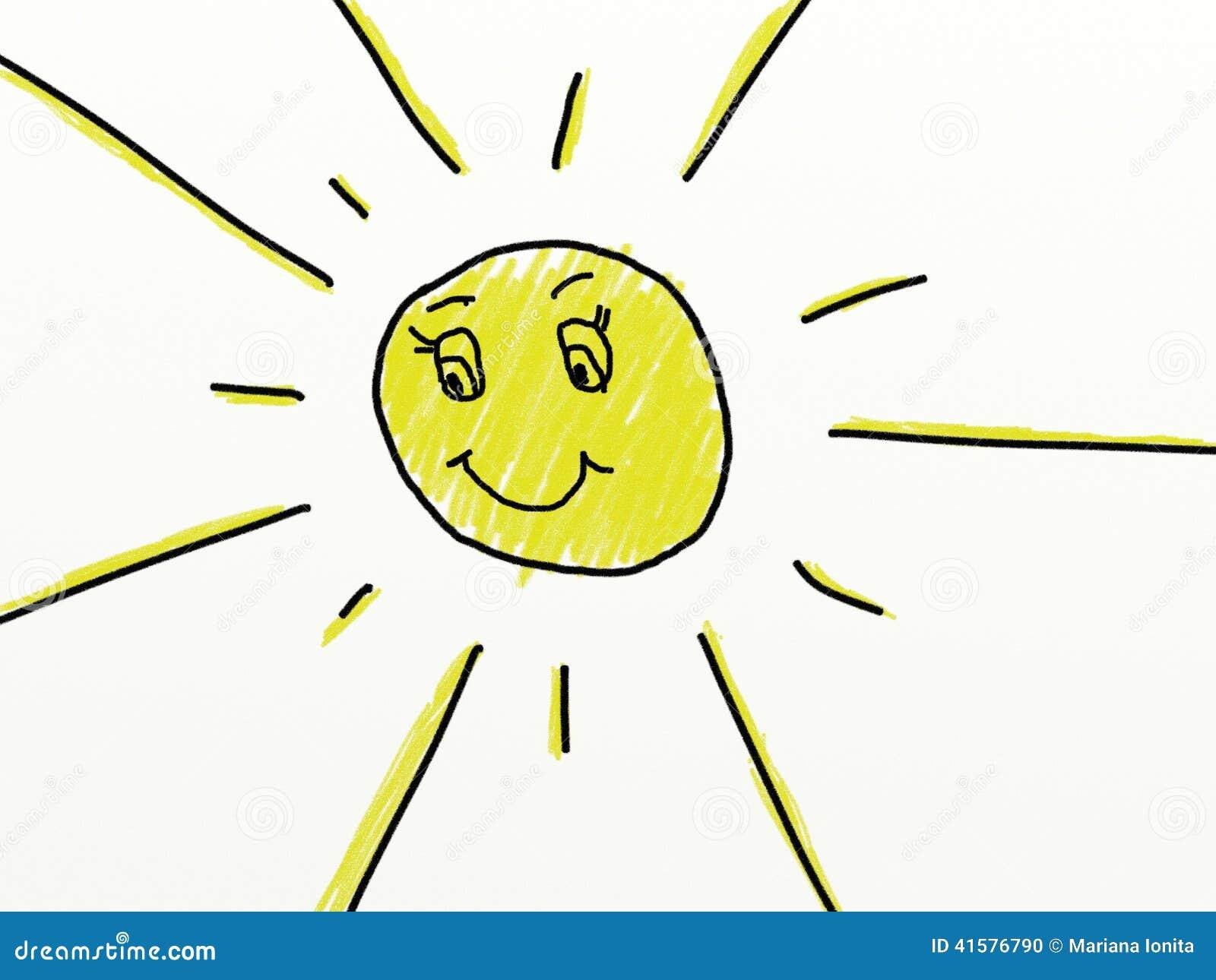 Il Bambino Gradisce Il Disegno Di Un Sole Illustrazione Di Stock