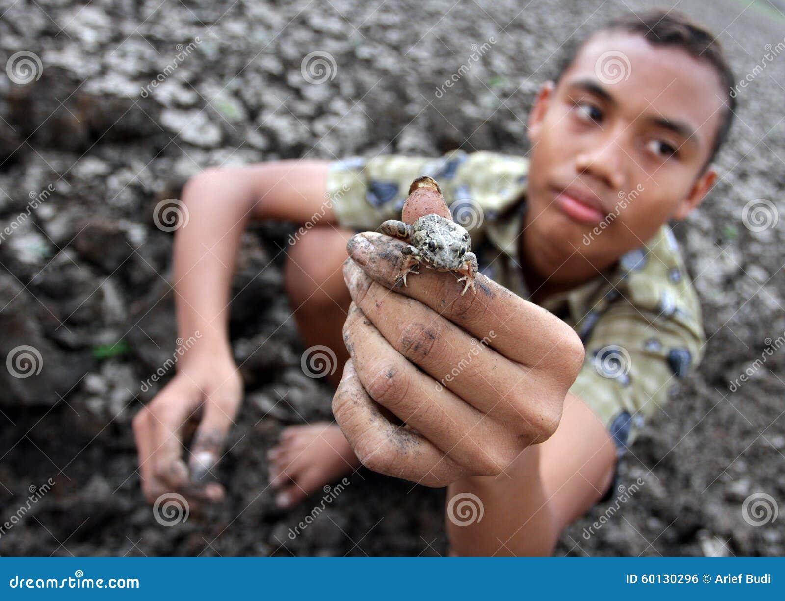 Il bambino mostra le rane che ha preso nel bacino idrico Kerto Sragen, Java Indonesia centrale