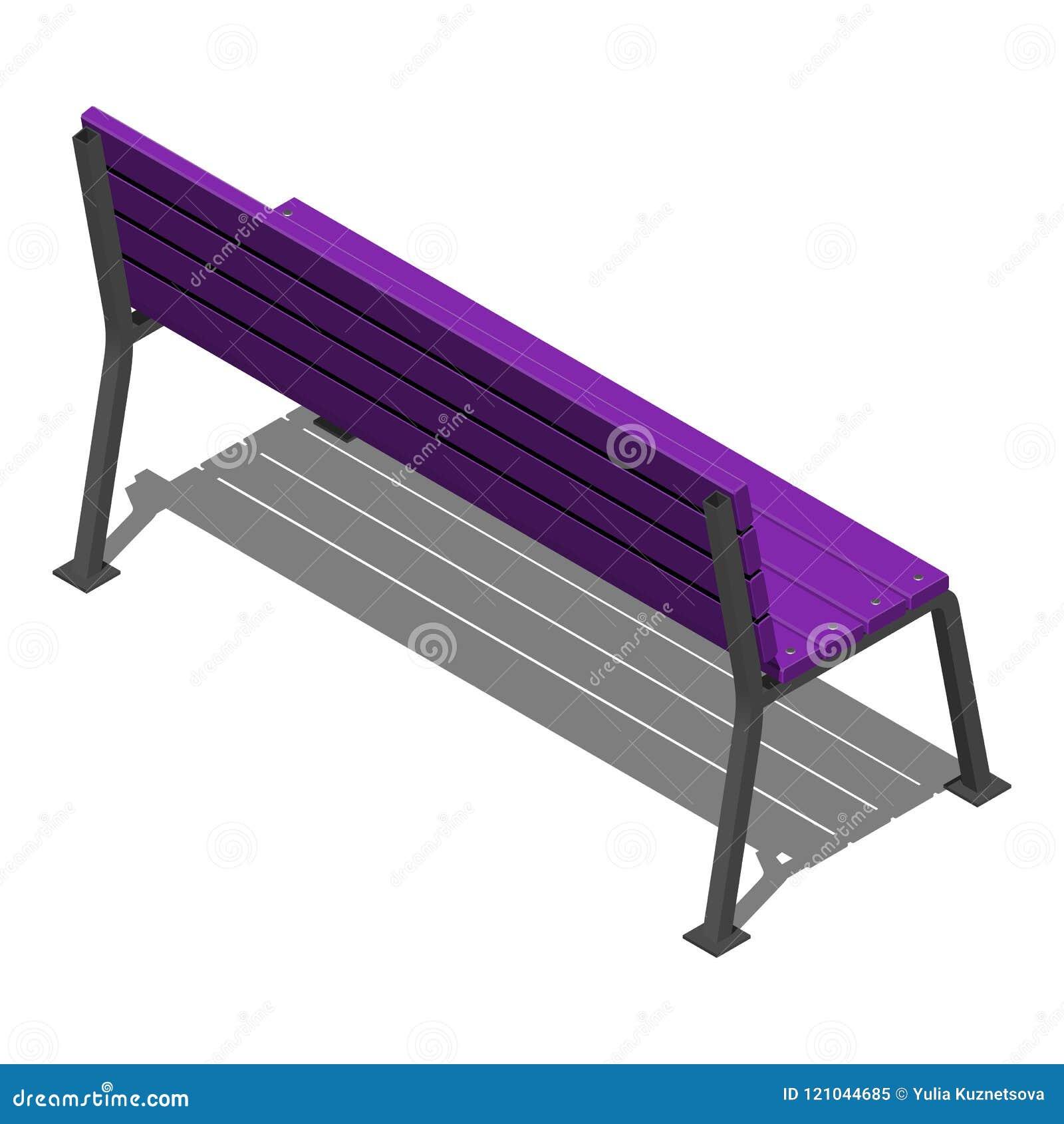 Il banco porpora della via fatto delle stecche di legno sui supporti del metallo, vector il modello isometrico su un fondo bianco
