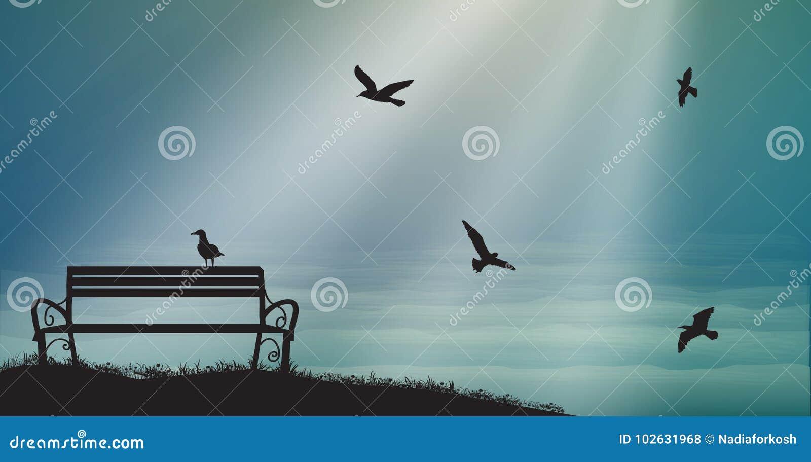 Il banco vuoto con i gabbiani ed il sole rays, ombre, le memorie, sogni dolci del mare,
