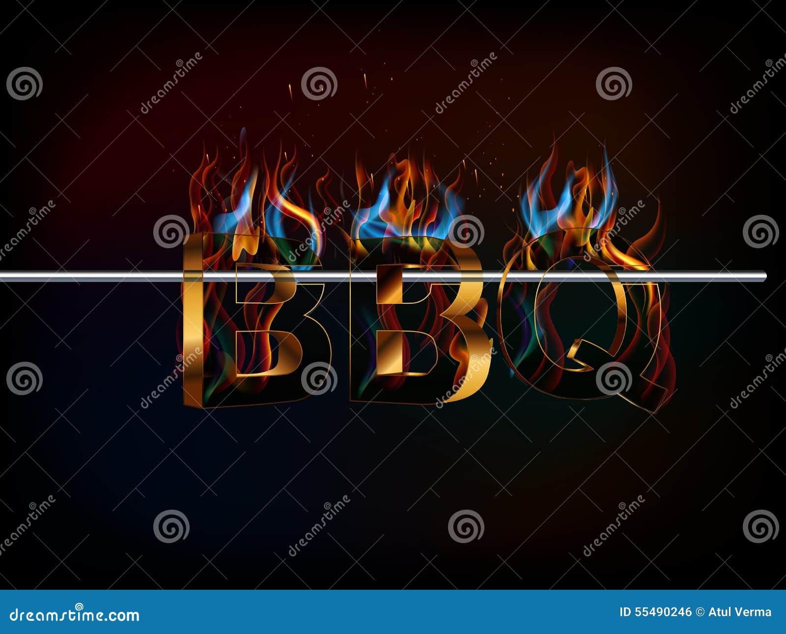 Il BBQ arrostisce col barbecue il menu, testo 3d con fuoco, sapori della griglia