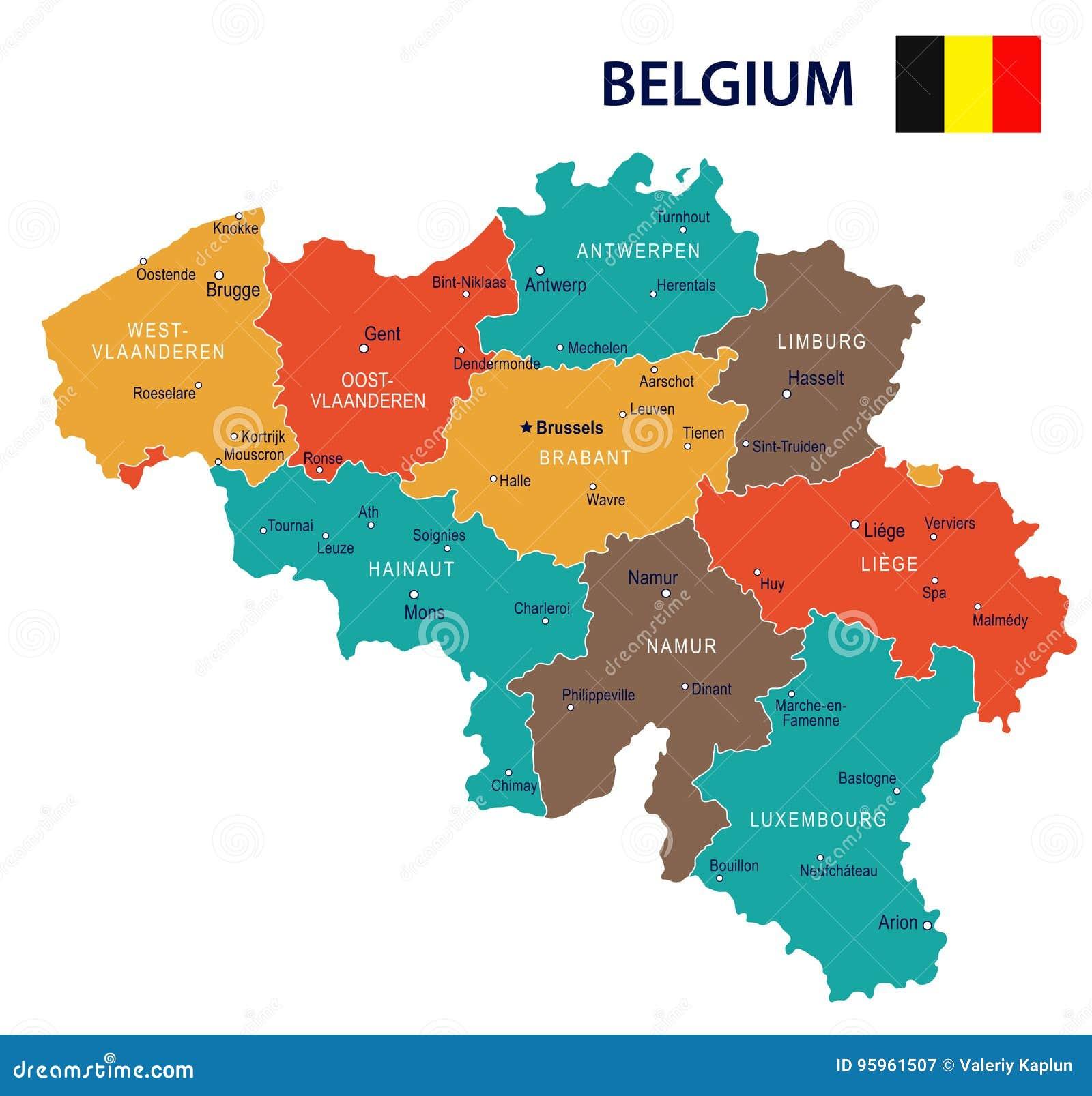Cartina Belgio Politica.Il Belgio Illustrazione Della Bandiera E Della Mappa