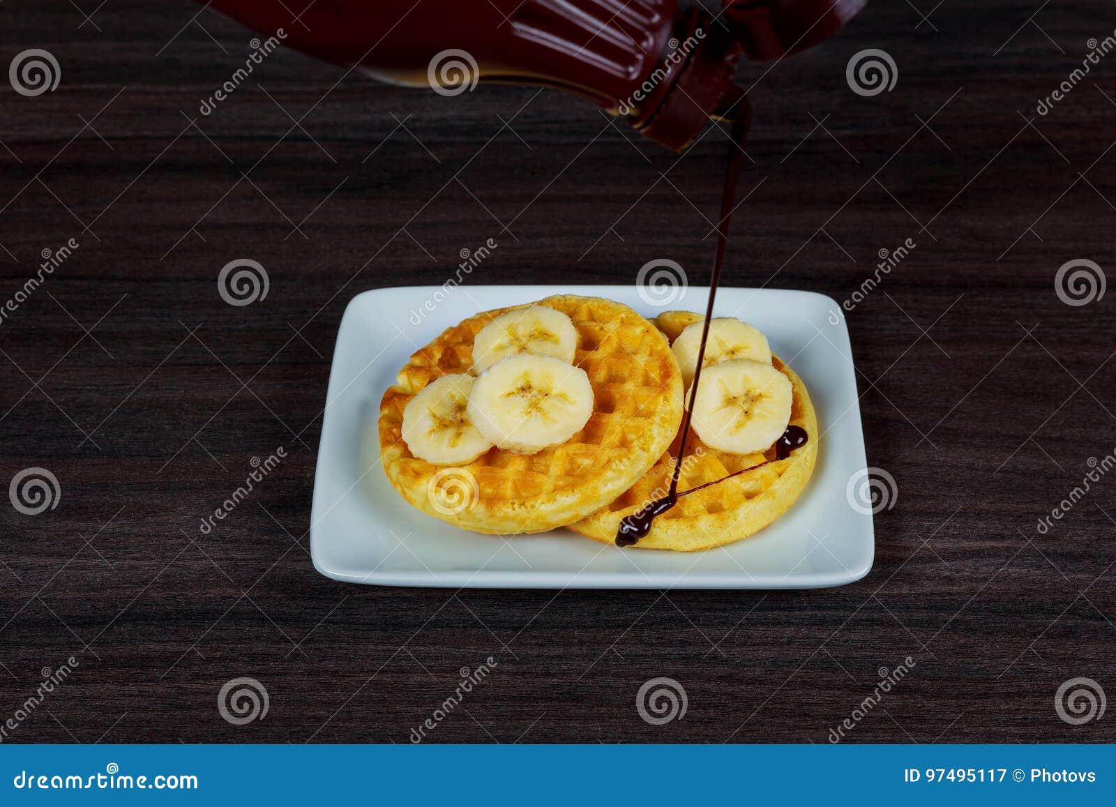 Il Belgio saporito waffles trovandosi su un piatto con le fragole