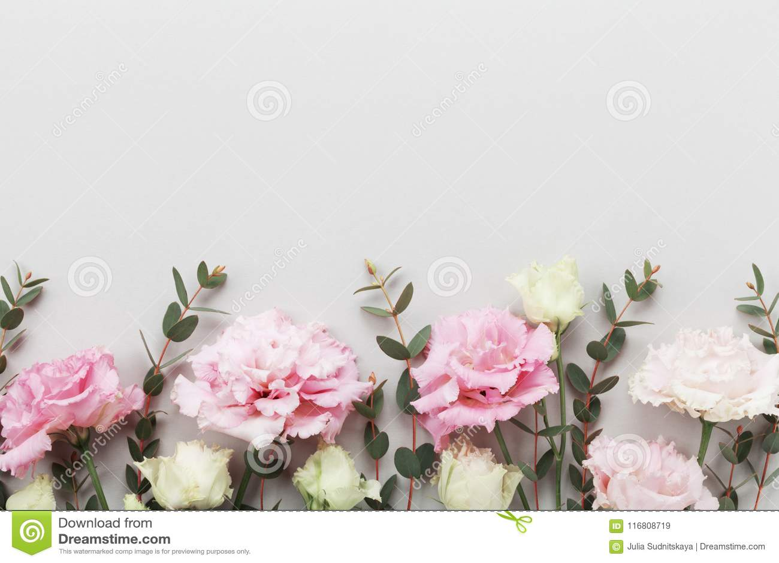 Il bello confine floreale dei fiori pastelli e dell eucalyptus verde va sulla vista grigia del piano d appoggio stile piano di di