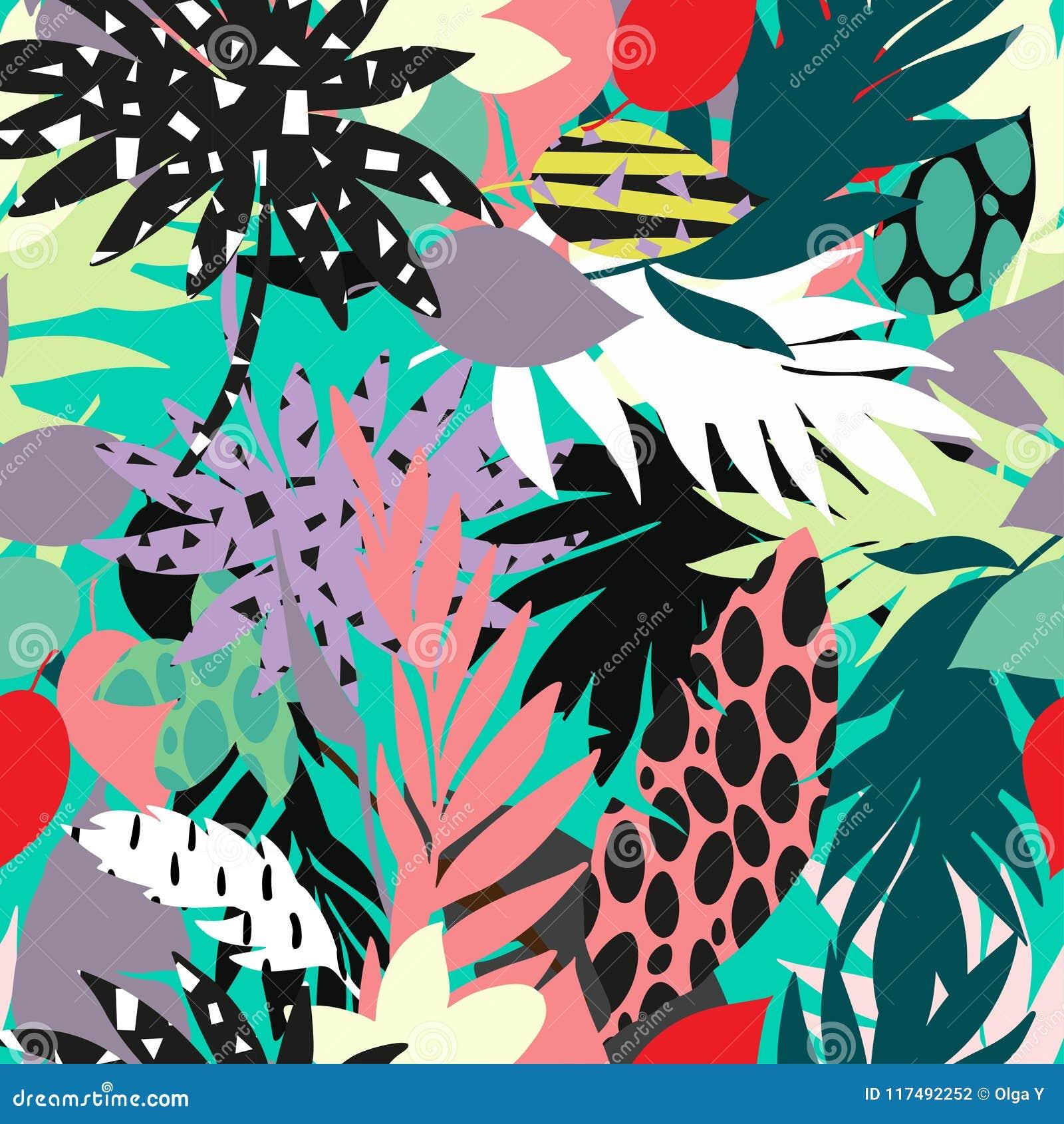 Il bello modello tropicale luminoso artistico senza cuciture con la banana, lo Syngonium e la dracaena coprono di foglie, diverti