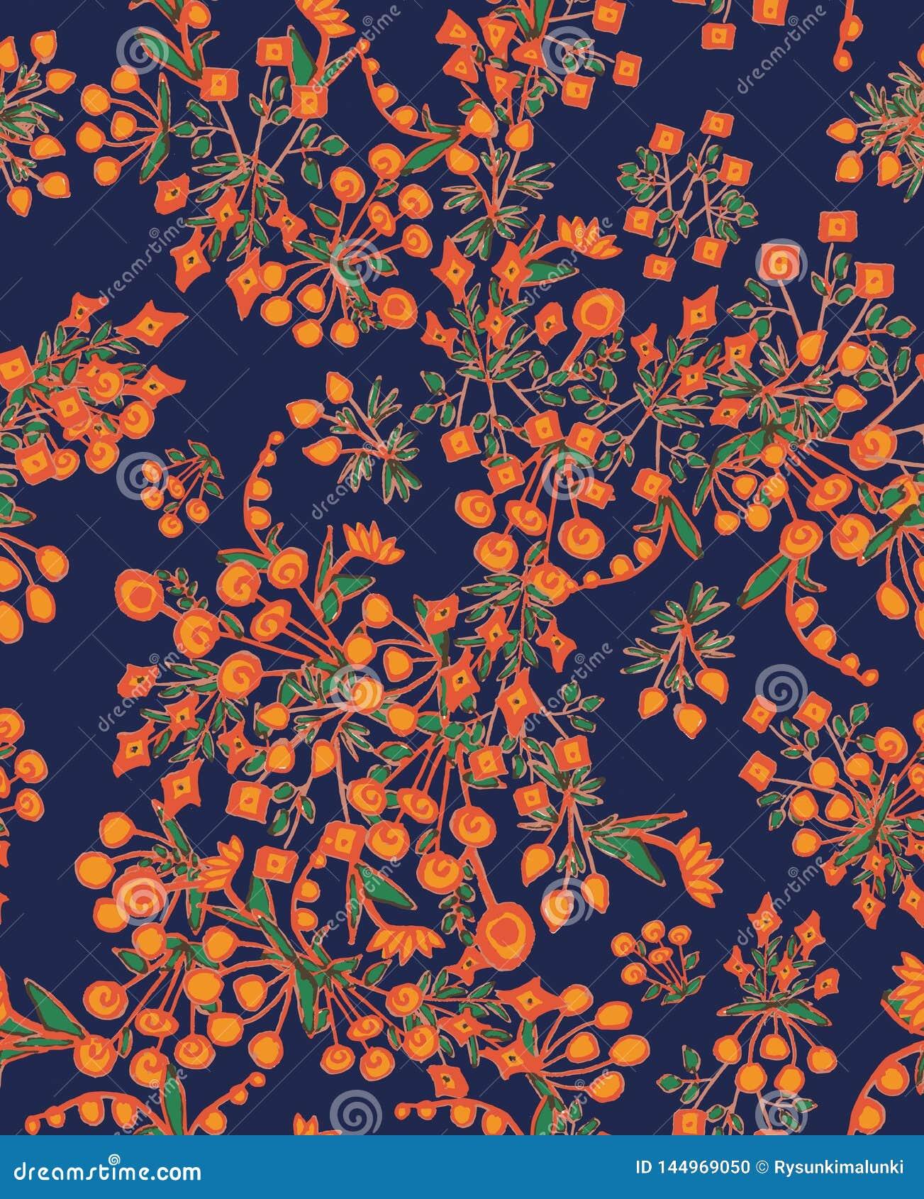 Il bello witth senza cuciture del modello di vettore ha semplificato i fiori arancio su fondo blu