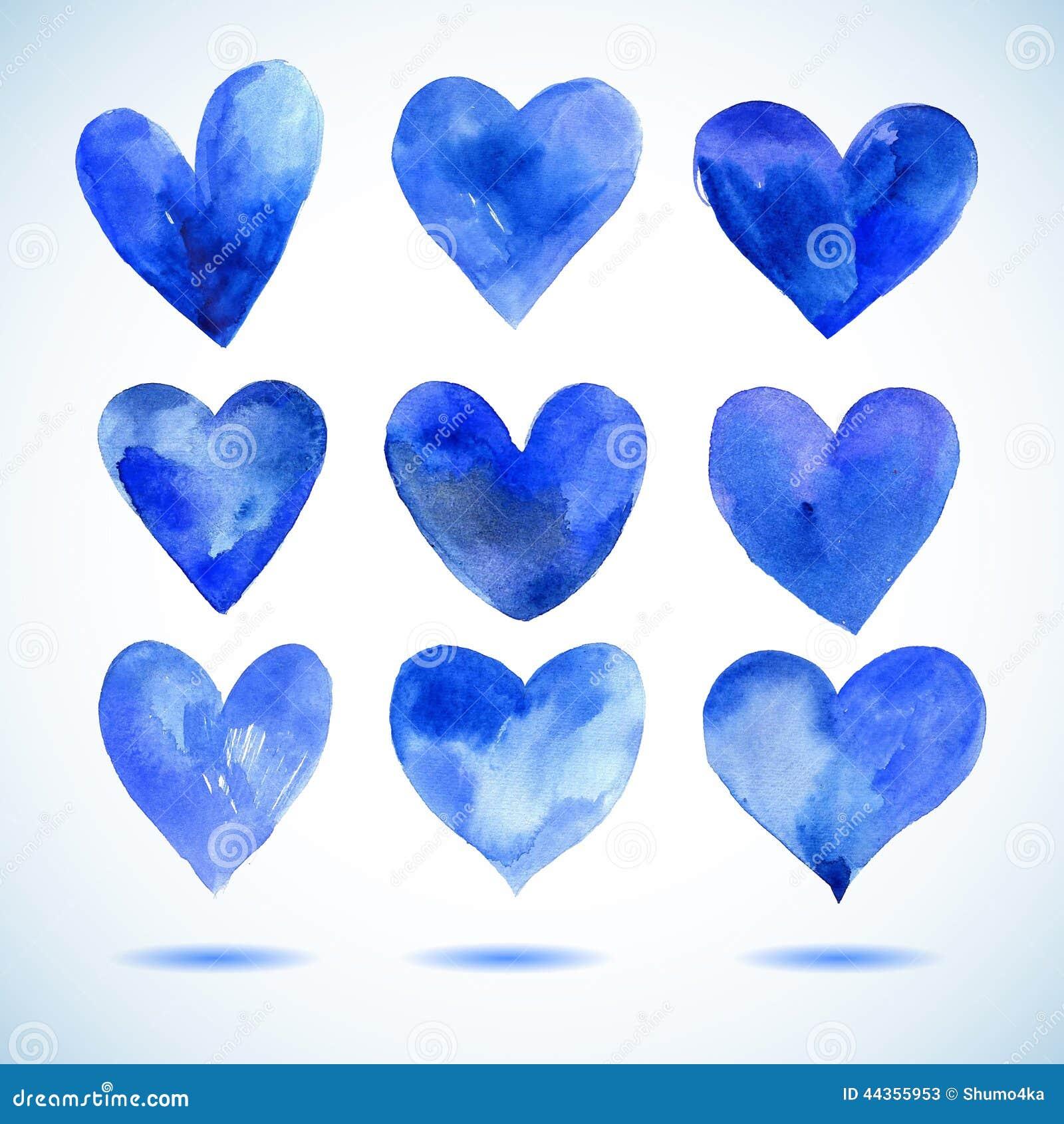 Il blu dell acquerello ha dipinto l insieme del cuore, elementi di vettore per la vostra progettazione