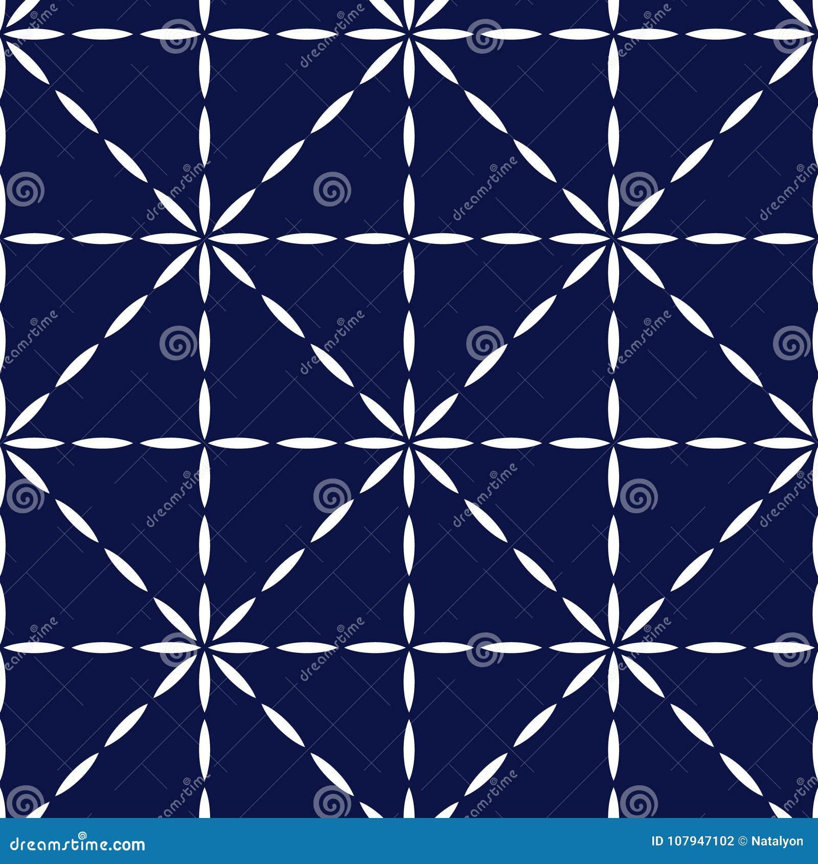 Il blu ed il bianco hanno imbottito il modello senza cuciture geometrico del tessuto, vettore