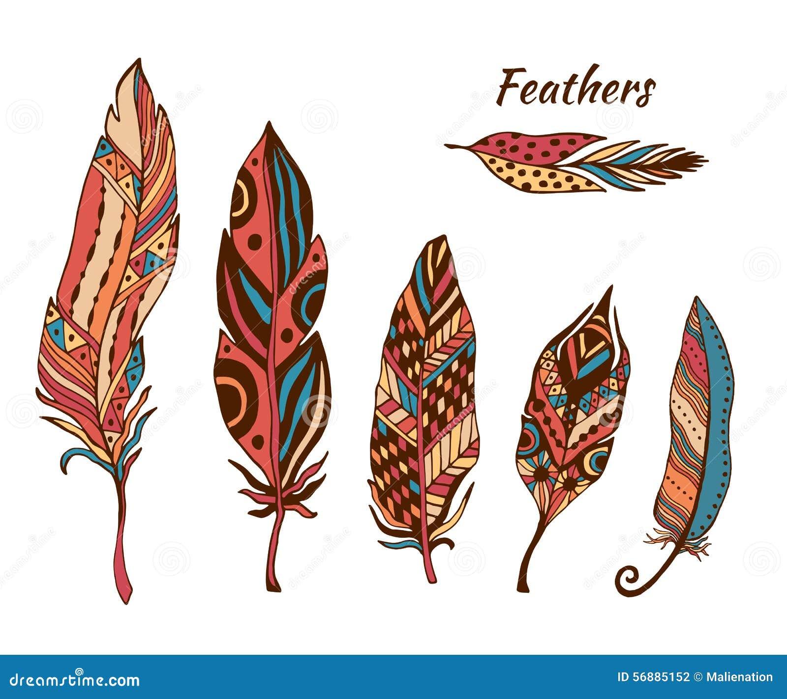 Il boho disegnato a mano mette le piume alla raccolta di vettore Insieme delle piume etniche di colore di scarabocchio Piuma sveg