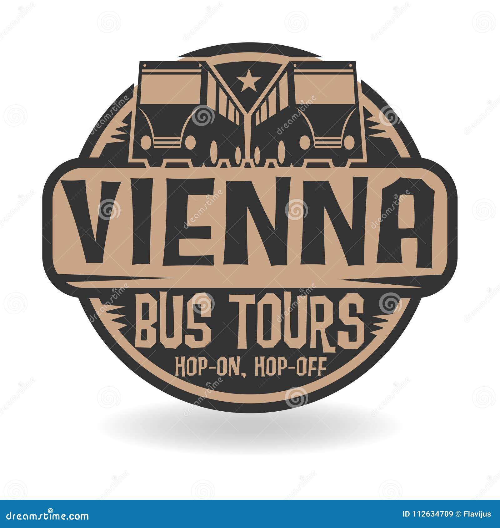 Il bollo astratto con testo Vienna, bus visita
