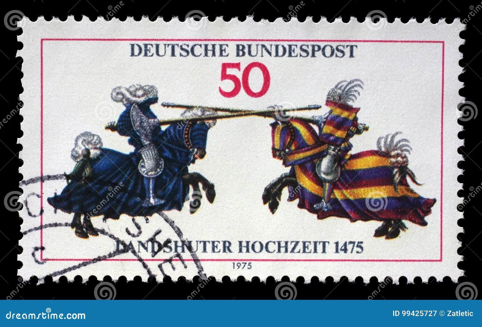 Il bollo stampato in Germania mostra la giostra, dal libro Jousting di William IV