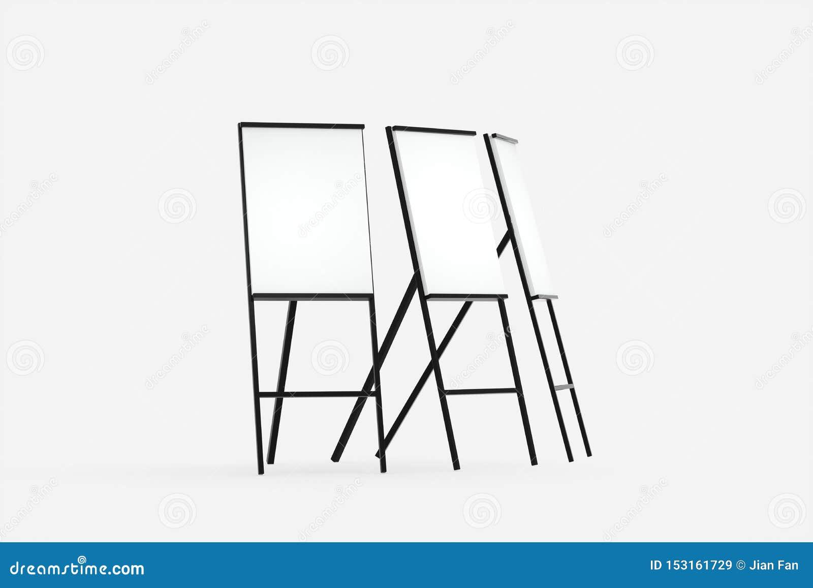 Il bordo in bianco del cavalletto con fondo bianco, rappresentazione 3d