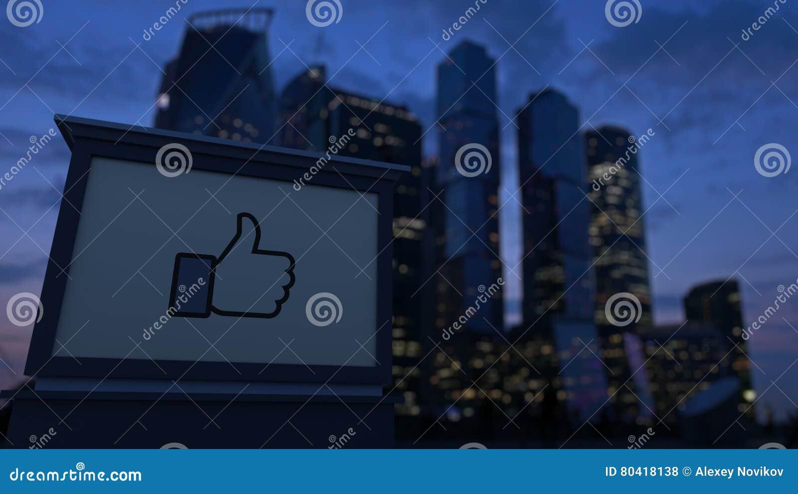 Il bordo del contrassegno della via con Facebook gradisce il pollice del bottone su