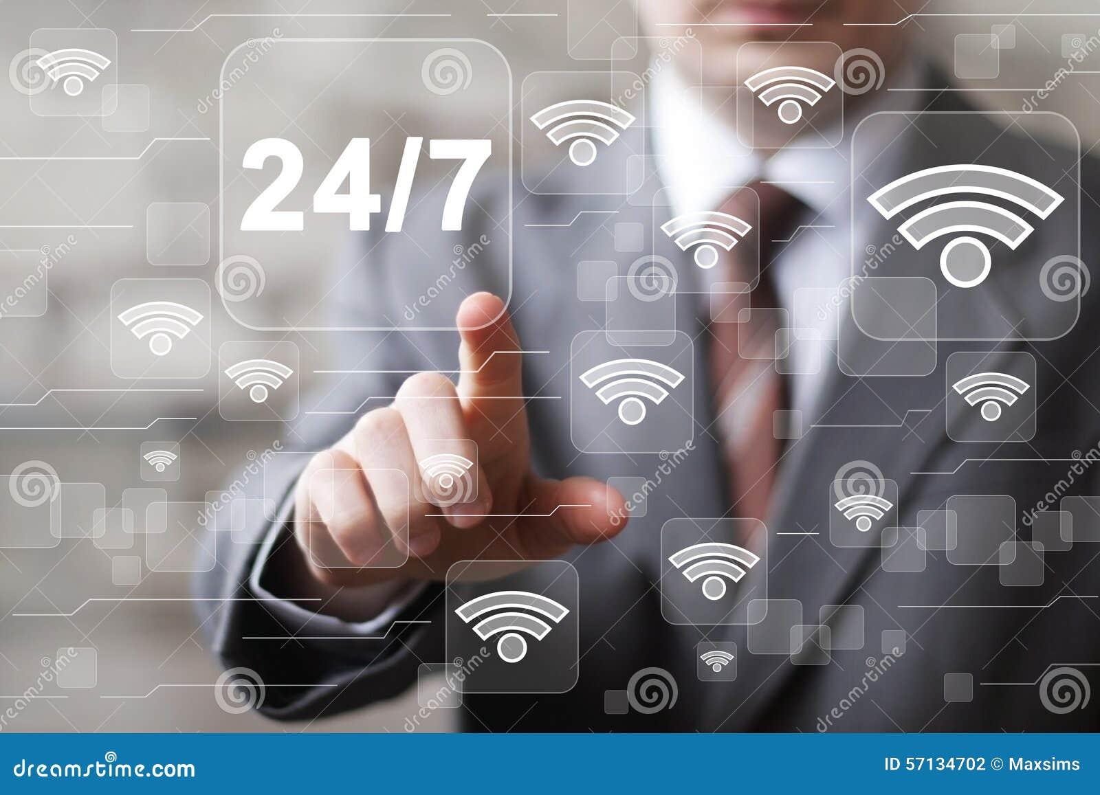 Il bottone di affari 24 ore assiste l icona di wifi di web