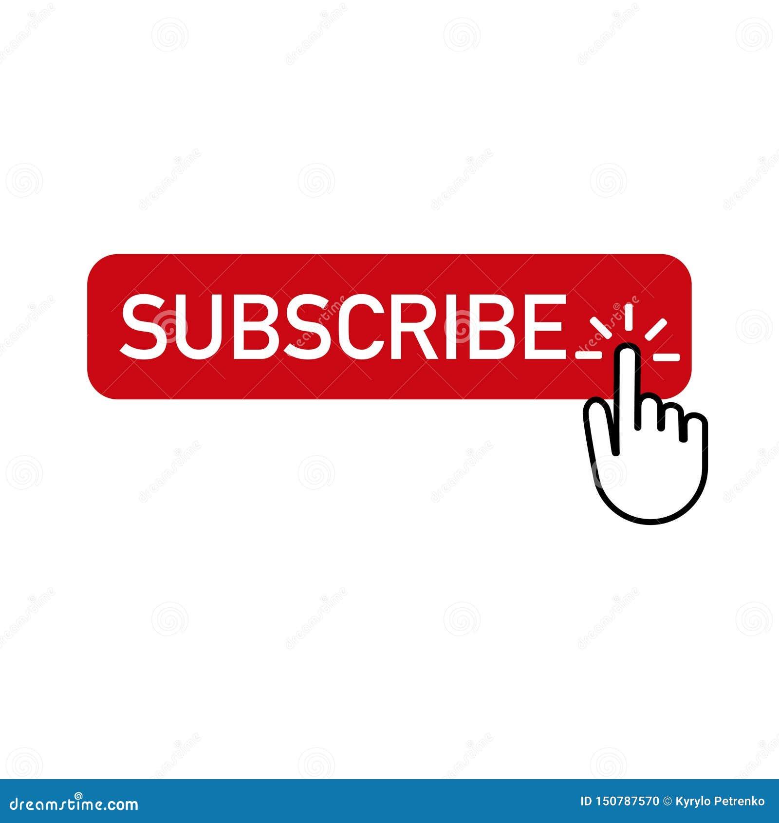 Il bottone rosso sottoscrive con la mano che clicca sopra