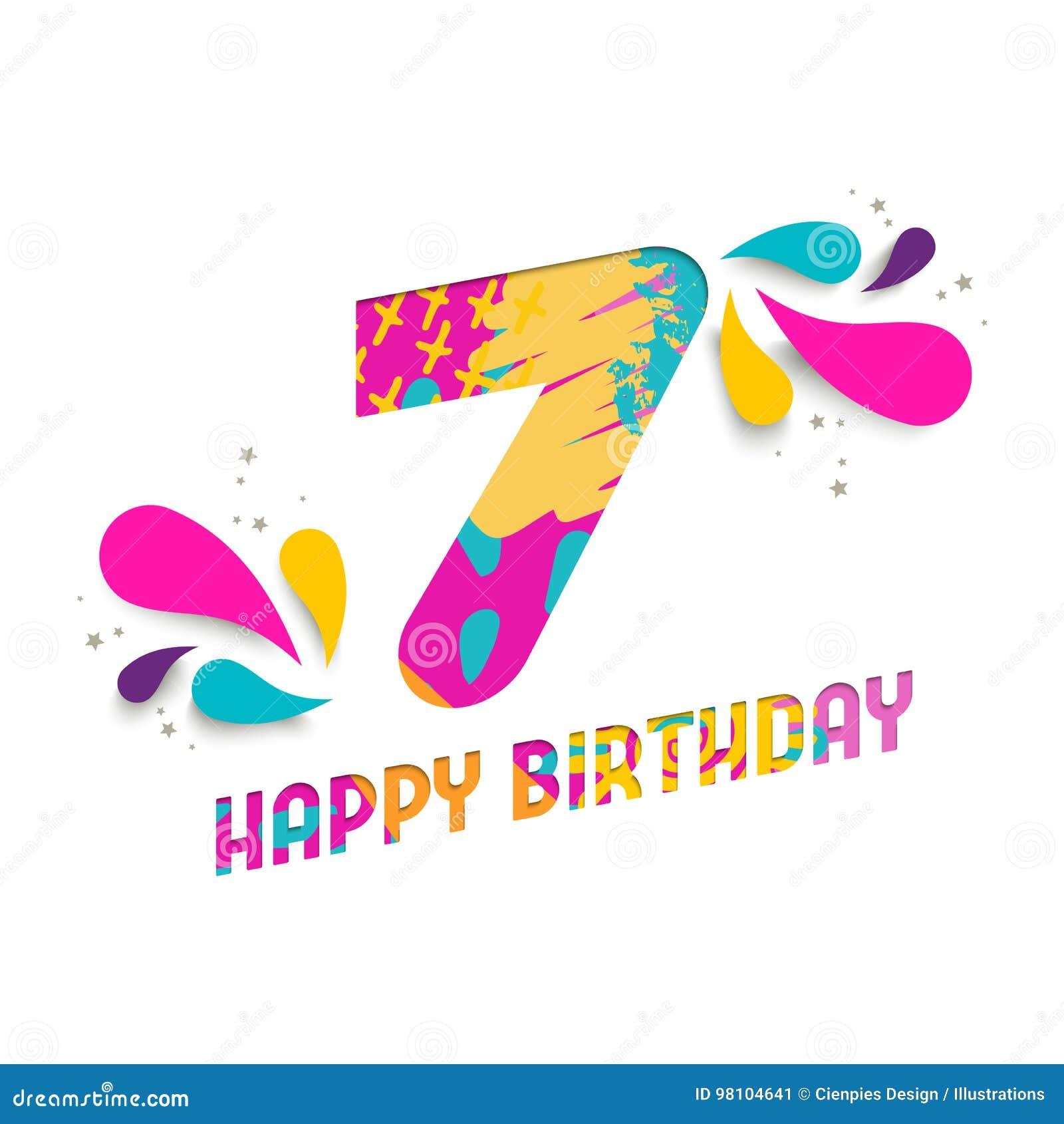 Auguri Di Buon Compleanno 7 Anni.Il Buon Compleanno Una Carta Da 7 Anni Ha Tagliato La
