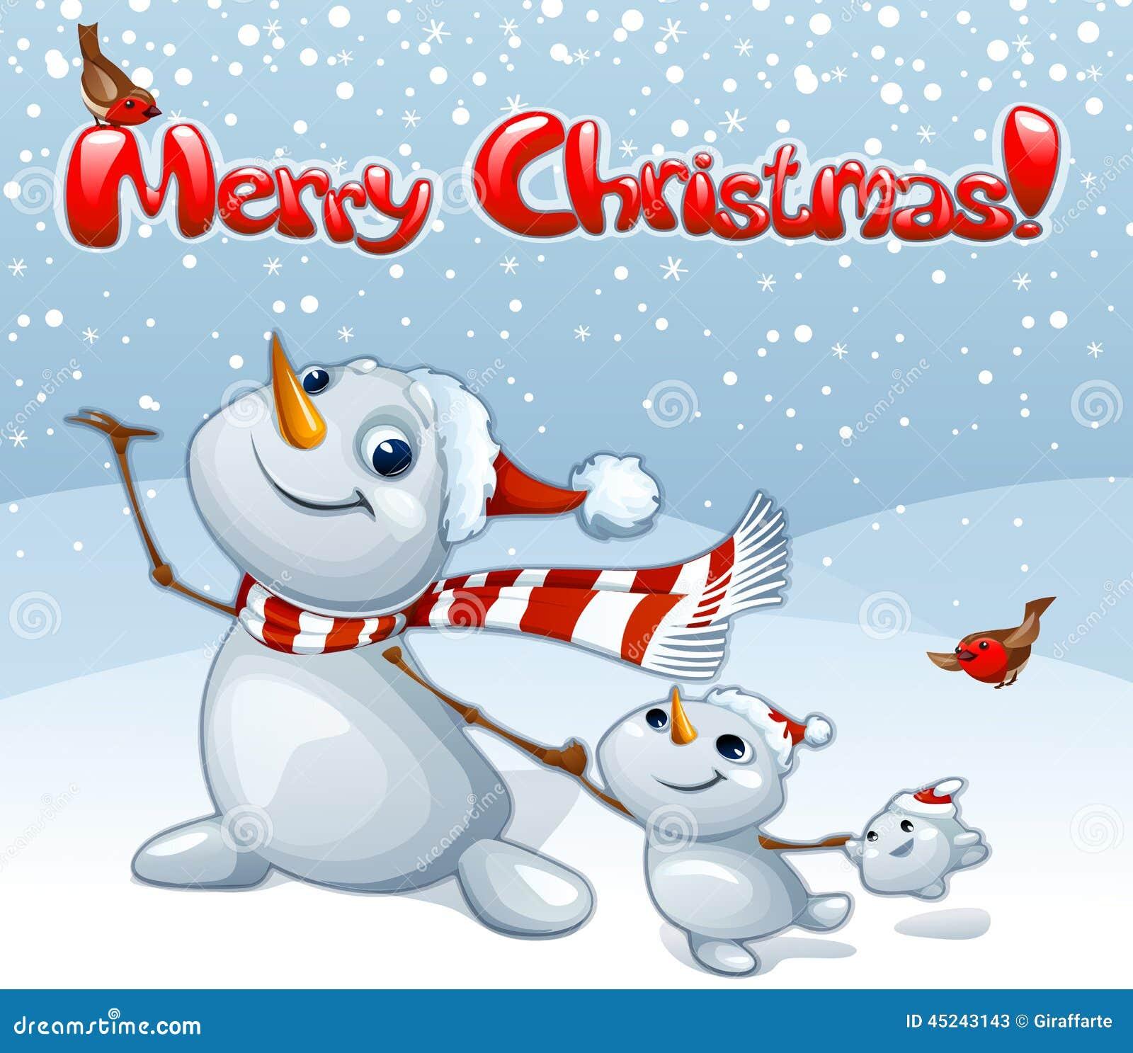 Buon Natale Famiglia.Il Buon Natale Carda Con La Famiglia Dei Pupazzi Di Neve