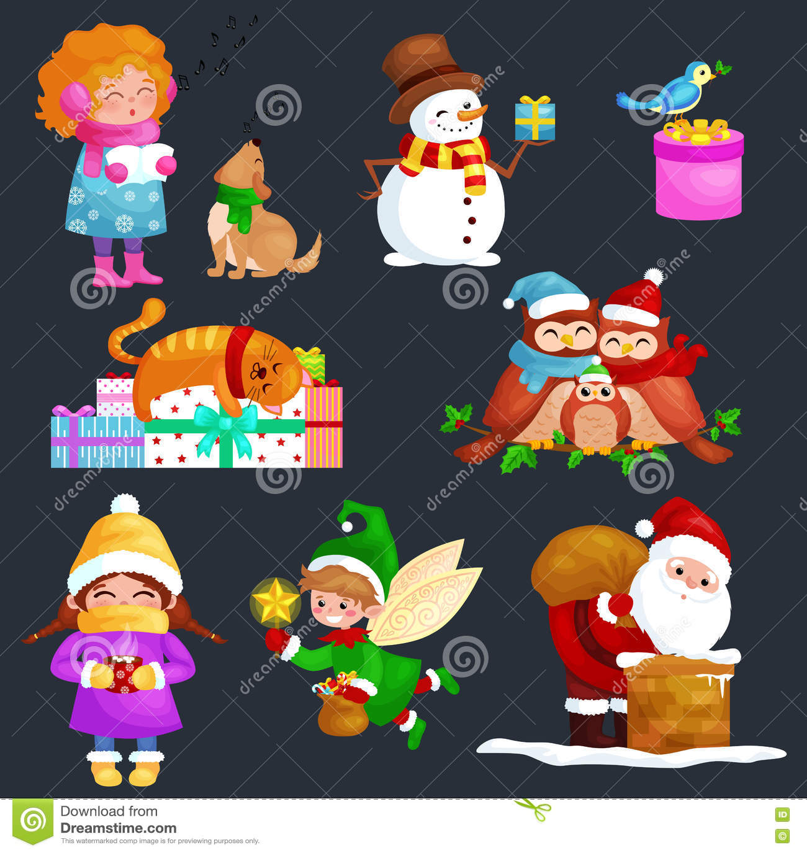 Buon Natale Buon Natale Canzone.Il Buon Natale Fissato Illustrazioni Il Buon Anno Ragazza Canta Le