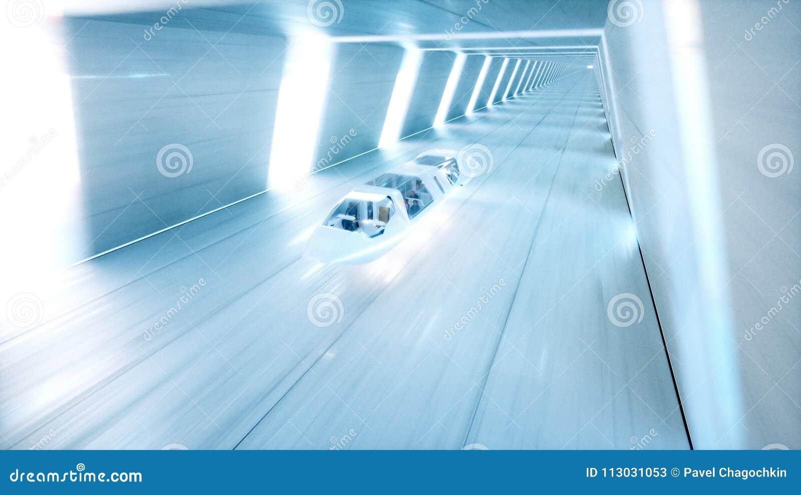 Il bus futuristico di volo con la gente digiuna guidando in tunnel di fi di sci, coridor Concetto di futuro rappresentazione 3d