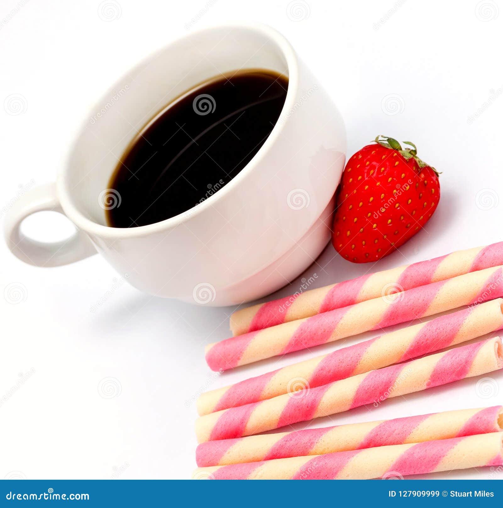 Il caffè dei biscotti della fragola significa il caffè ed il decaffeinato della caffeina