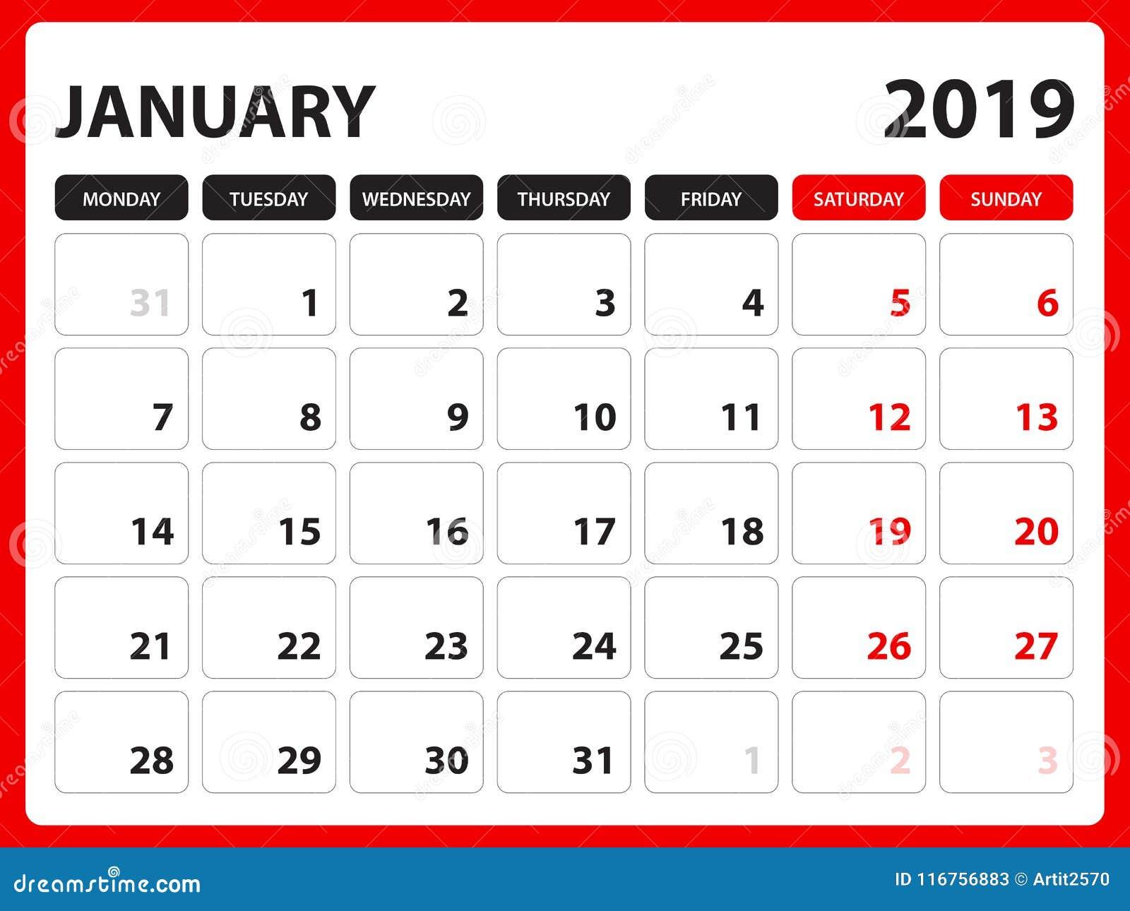 Il calendario da scrivania per il modello il gennaio 2019, calendario stampabile, modello di progettazione del pianificatore, set