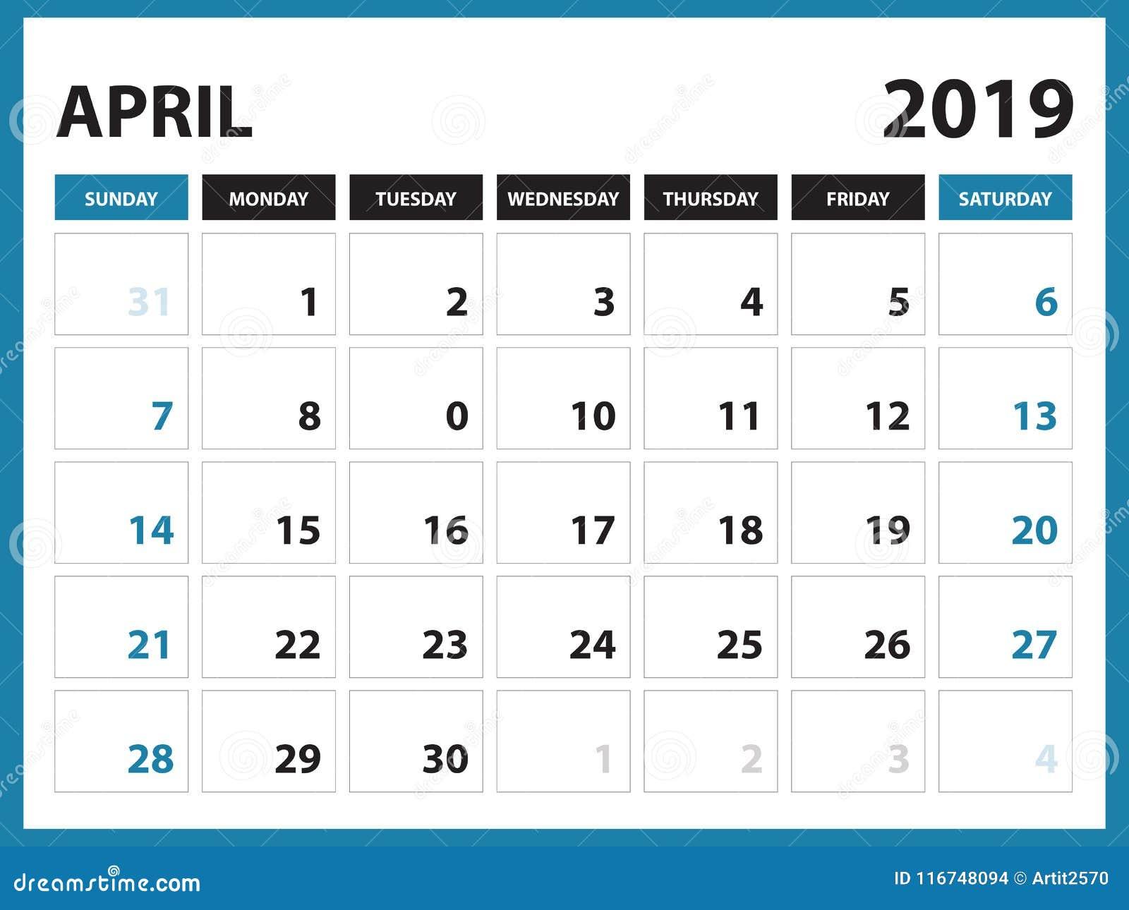 Calendario Stampabile.Il Calendario Da Scrivania Per Il Modello L Aprile 2019