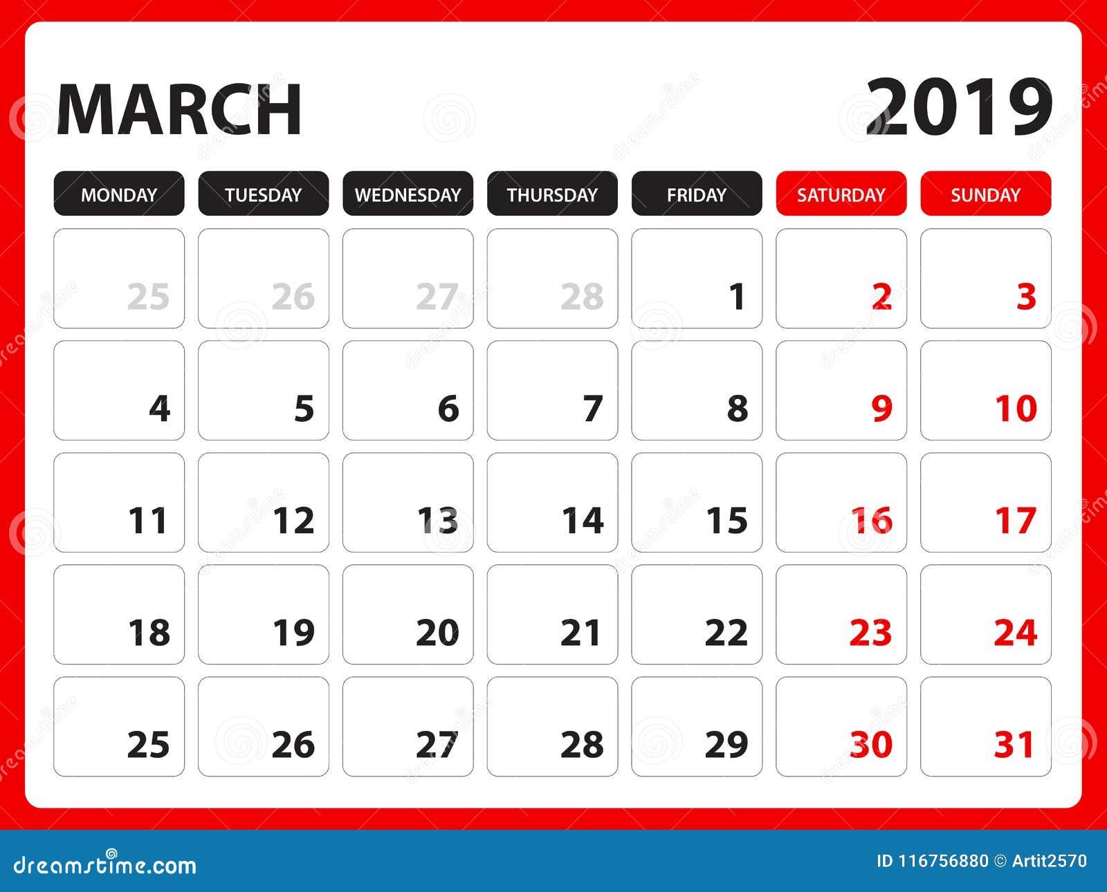 Calendario Dicembre 2019 Stampabile.Il Calendario Da Scrivania Per Il Modello Il Marzo 2019
