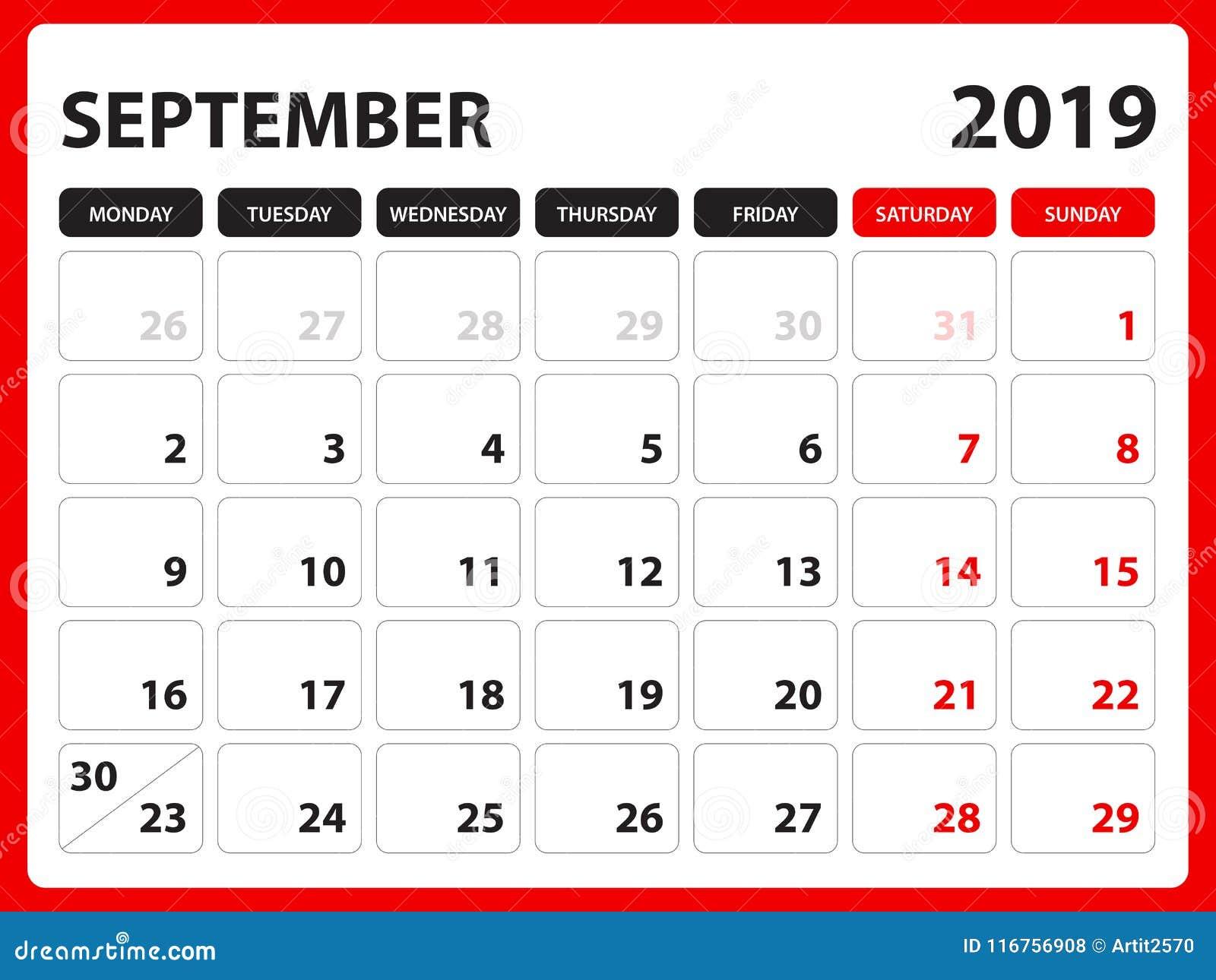 Calendario Solo Numeri.Il Calendario Da Scrivania Per Il Modello Il Settembre 2019