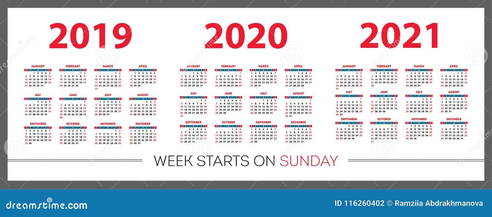 Calendario Anno 2020.Il Calendario Ha Messo 2019 2020 2021 Anno Colore Rosso