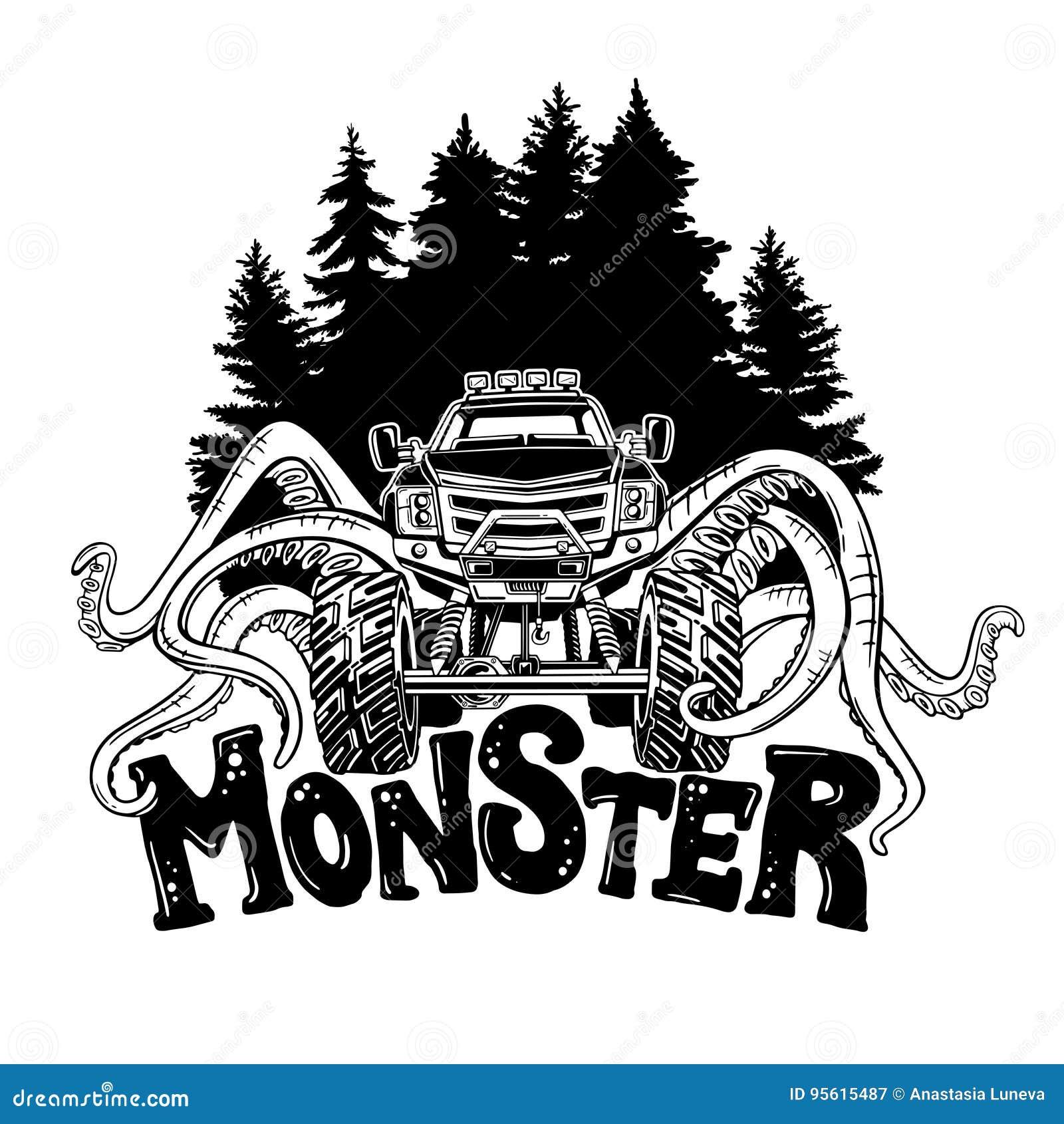 Il camion di mostro di vettore con i tentacoli del mollusco e la foresta abbelliscono Tatuaggio animale mistico dell automobile A