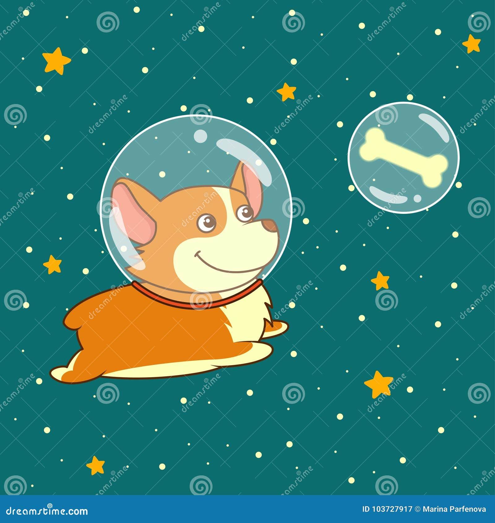 Il cane sorridente sveglio vestito in tuta spaziale sta volando nello spazio cosmico facendo uso di, sul fondo stellato dello spa