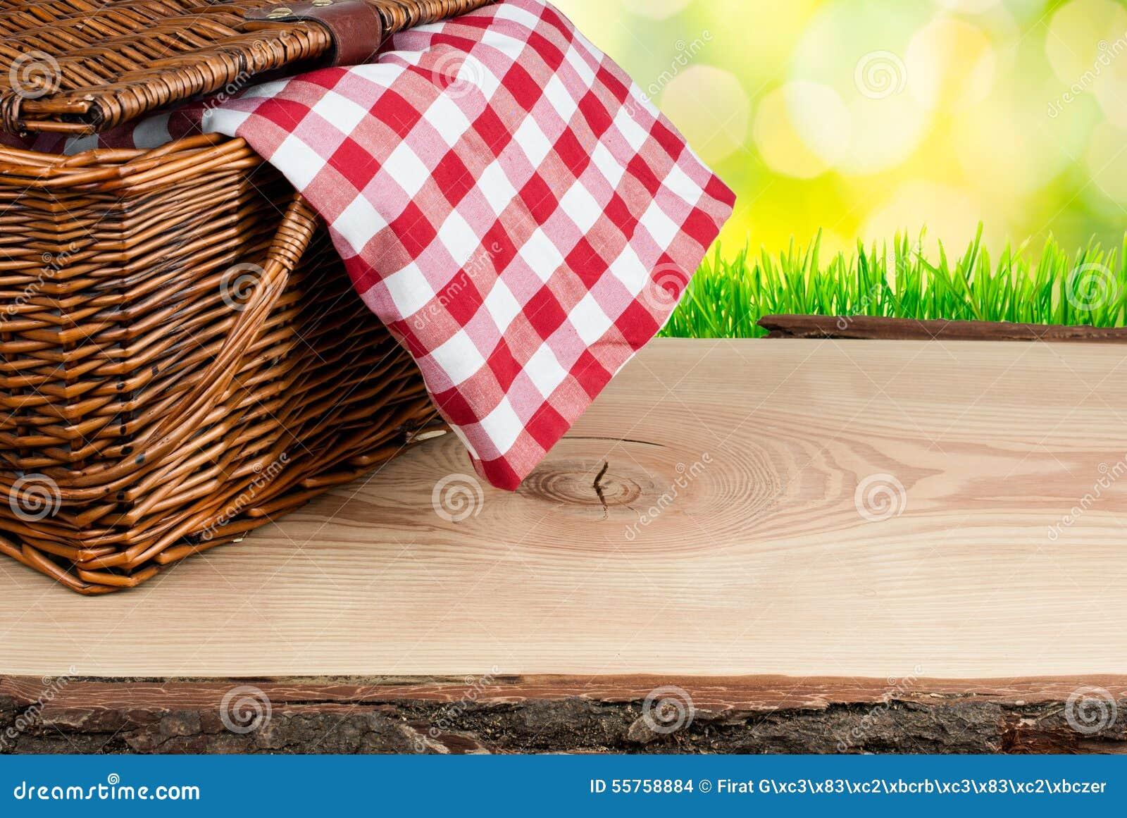 Il canestro di picnic sulla tavola con controllato copre