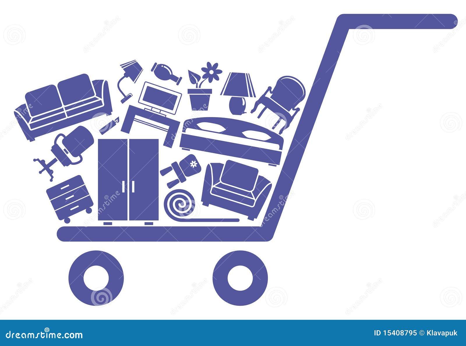 Il carrello con mobilia