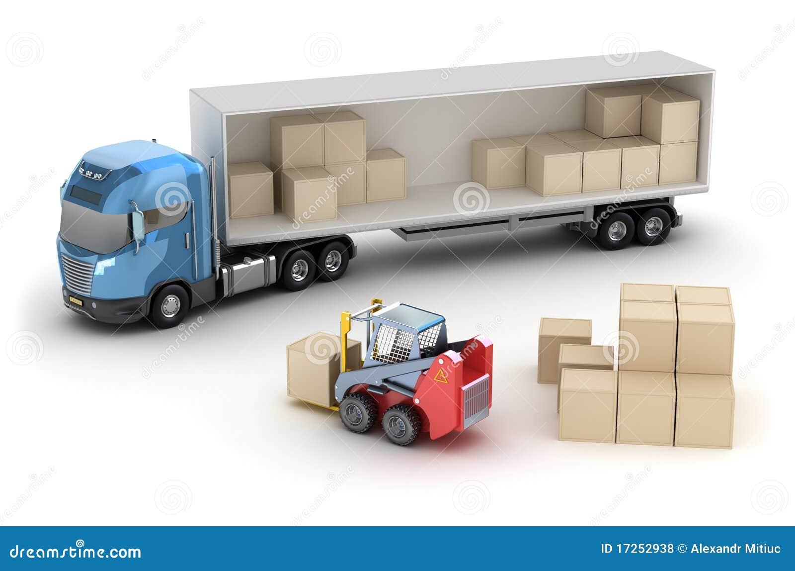 Il carrello elevatore sta caricando il camion
