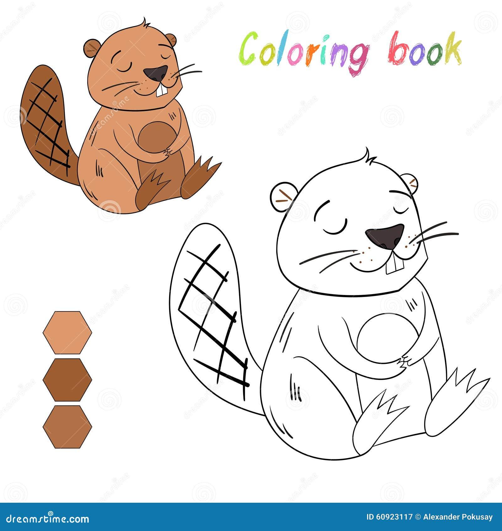 Il Castoro Del Libro Da Colorare Scherza La Disposizione Per Il