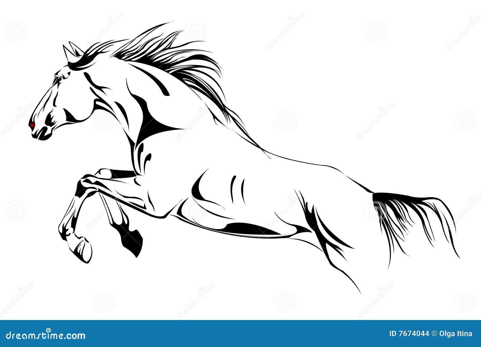 Il cavallo salta l 39 illustrazione di vettore immagini stock for Immagini cavalli stilizzati