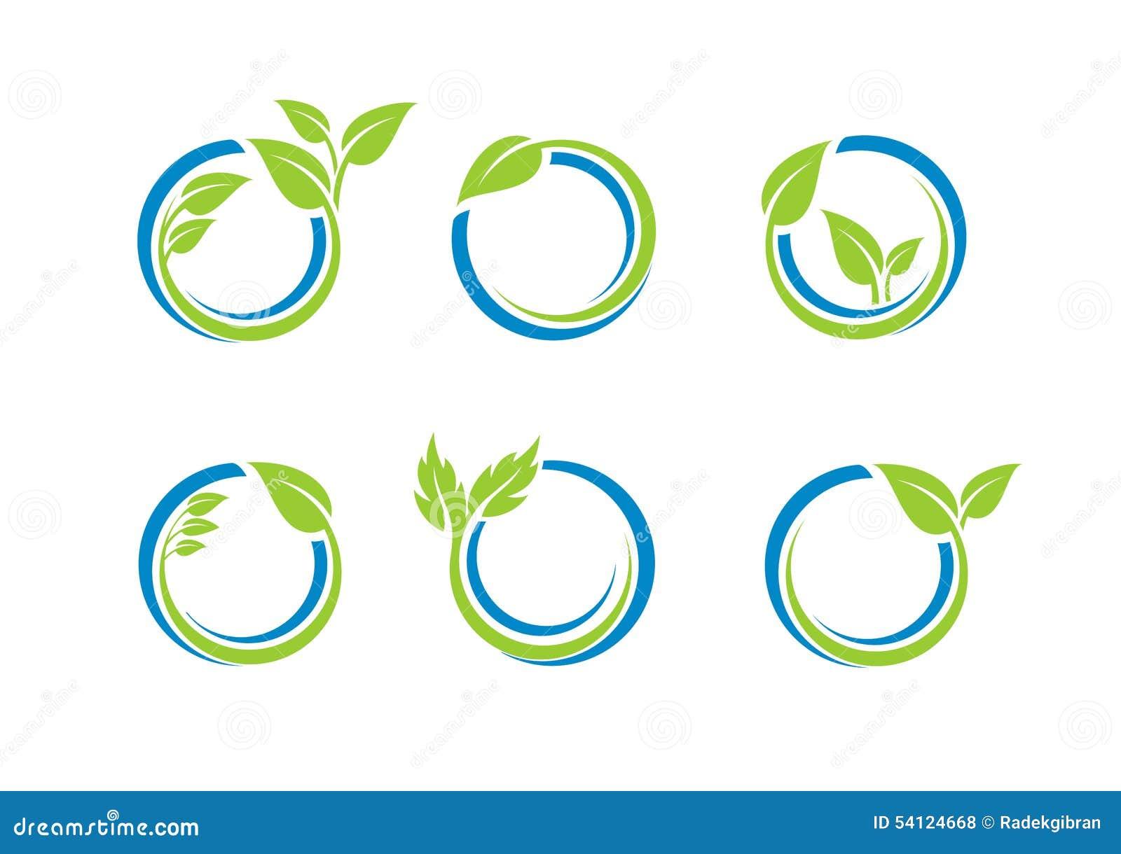 Il cerchio lascia il logo dell ecologia, insieme della sfera dell acqua della pianta di progettazione rotonda di vettore di simbo